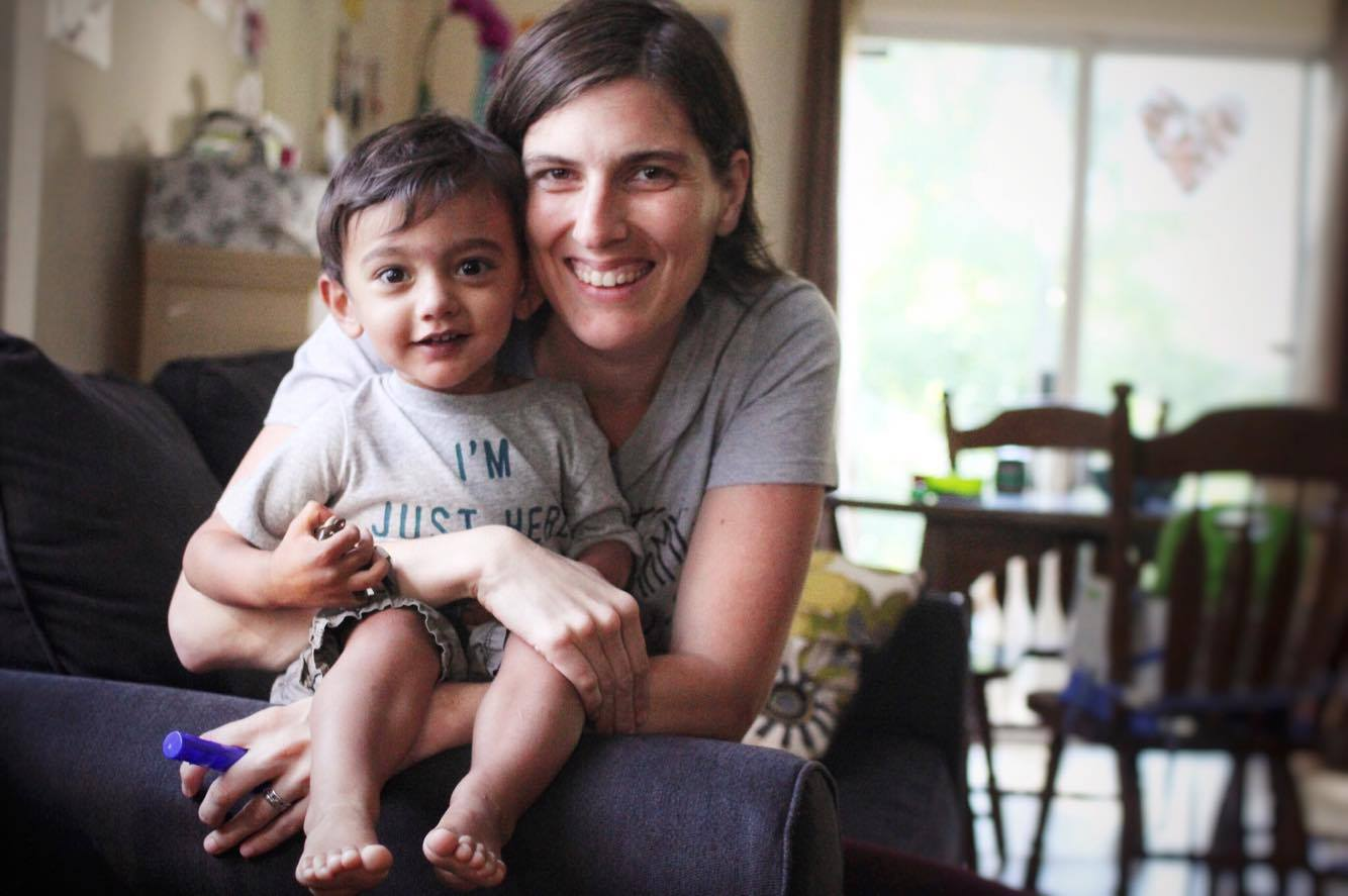 Ali Chandra, 33, with her son Ethan, 2. Ethan has heterotaxy, which causes birth defects in his internal organs. This photo was taken by Ethan's 4-year old sister Zoe.