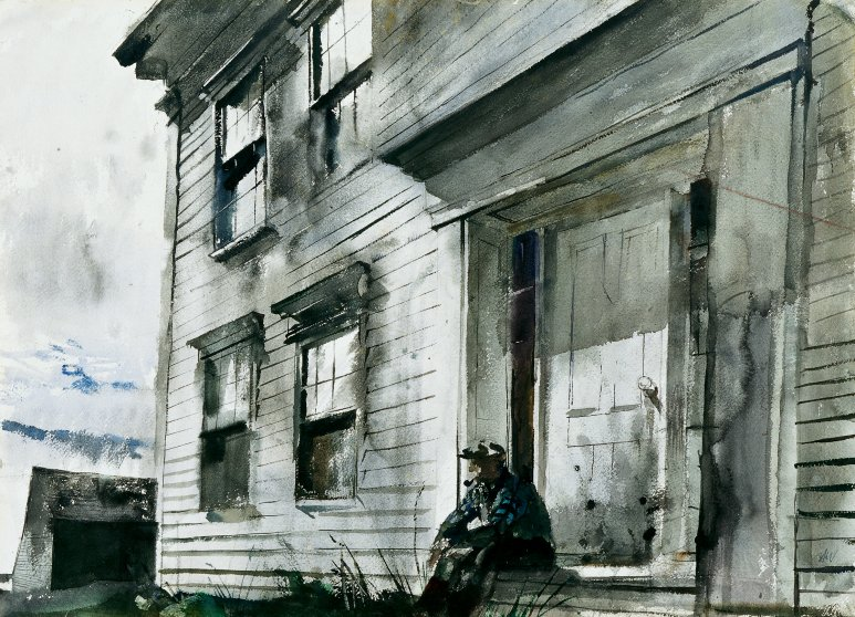 Alvaro on Front Doorstep, 1942 watercolor on paper from Marunma Art Park.