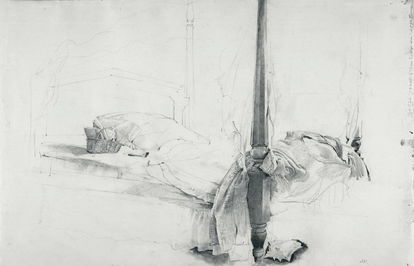 The Bed, Study for Chambered Nautilus, 1956 pencil on paper from The Andrew and Betsy Wyeth Collection.