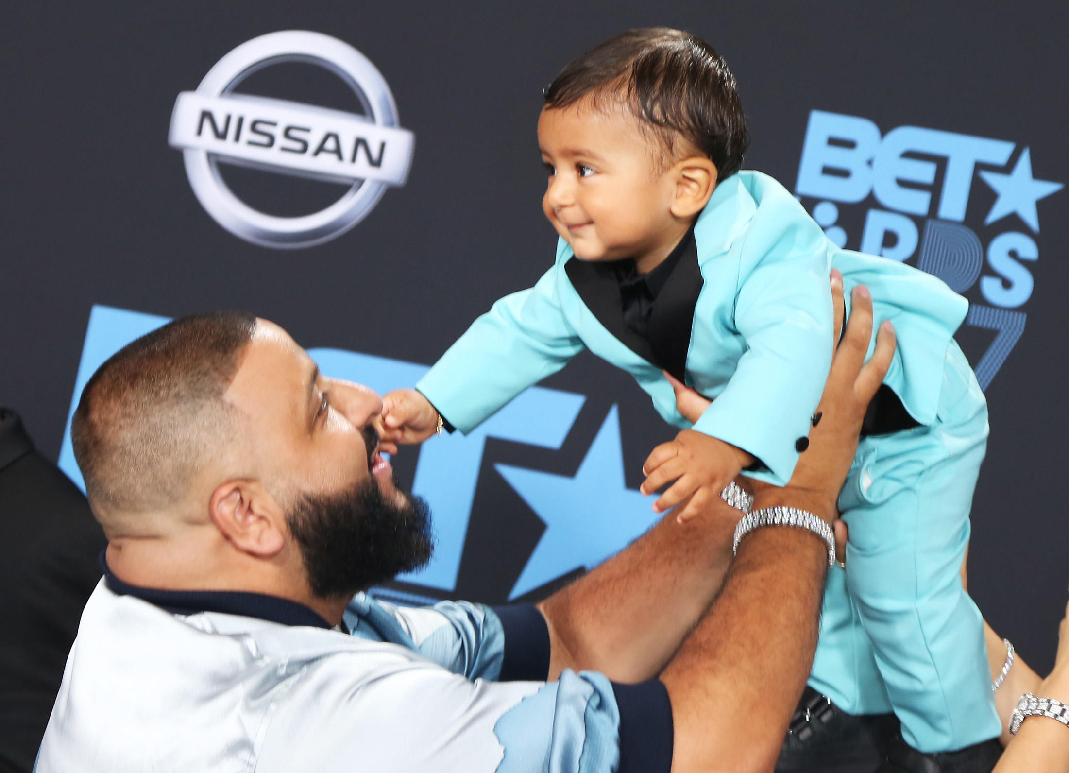 LOS ANGELES, CA - JUNE 25:  DJ Khaled (L) and Asahd Tuck Khaled at the 2017 BET Awards at Microsoft Square on June 25, 2017 in Los Angeles, California.  (Photo by Maury Phillips/Getty Images)