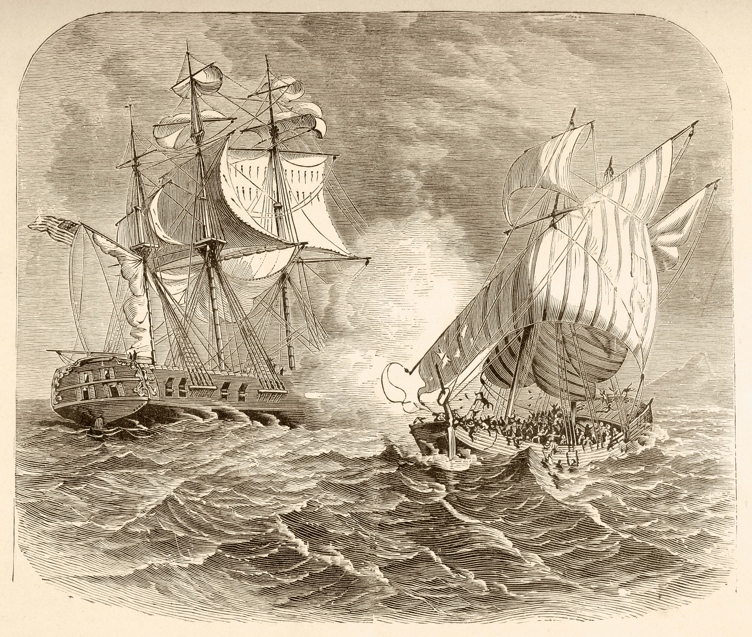 An American Navy ship captures an Algerian pirate ship off the Barbary Coast during the First Barbary War 1801 to 1805.