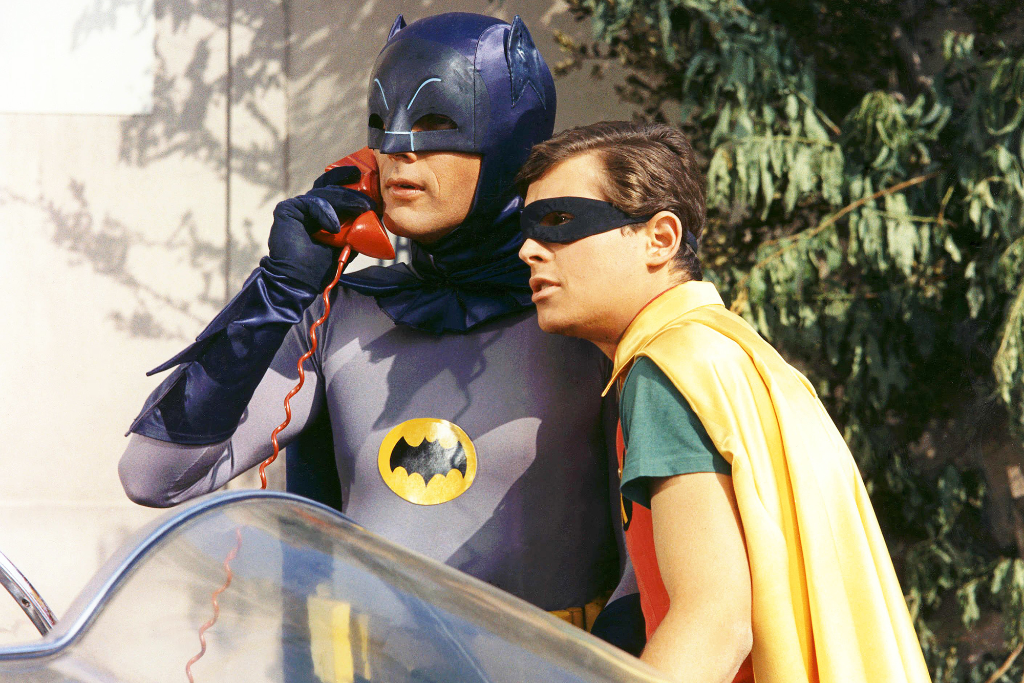Adam West, as Batman, and Burt Ward, as Robin, c. 1966.