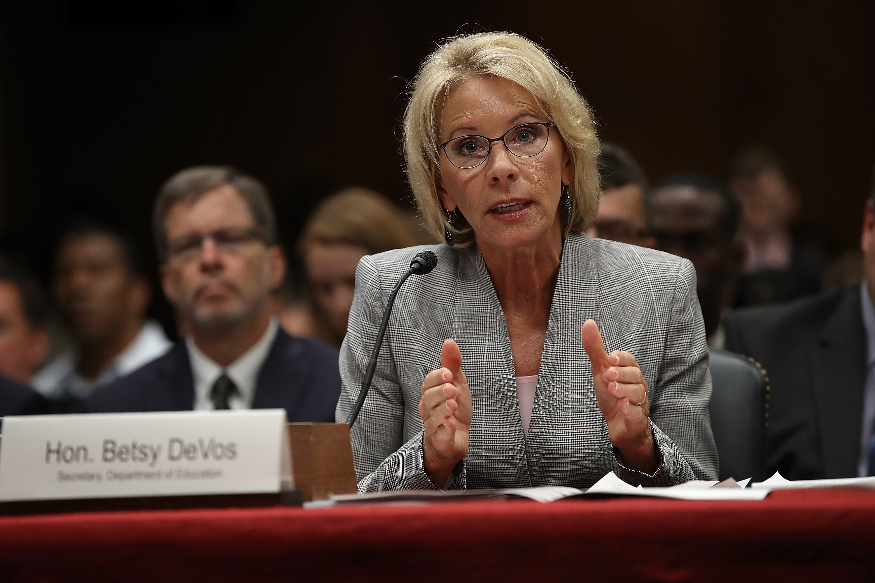 Education Secretary Betsy DeVos testifies before the Senate Appropriations Committee on Capitol Hill on June 6, 2017 in Washington, D.C.