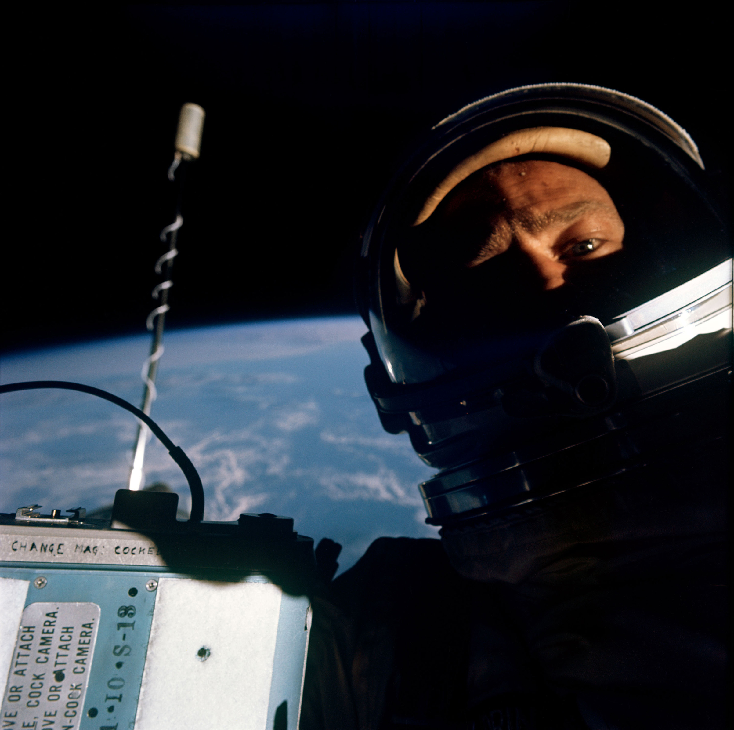 Buzz Aldrin space selfie during his Gemini 12 mission in 1966.