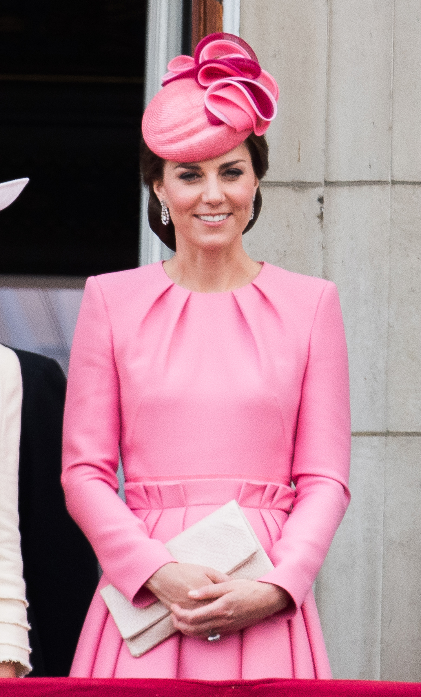 Catherine, Duchess of Cambridge, stands on the balcony of Buckingham Palace at the annual Trooping the Colour parade in London on June 17, 2017.