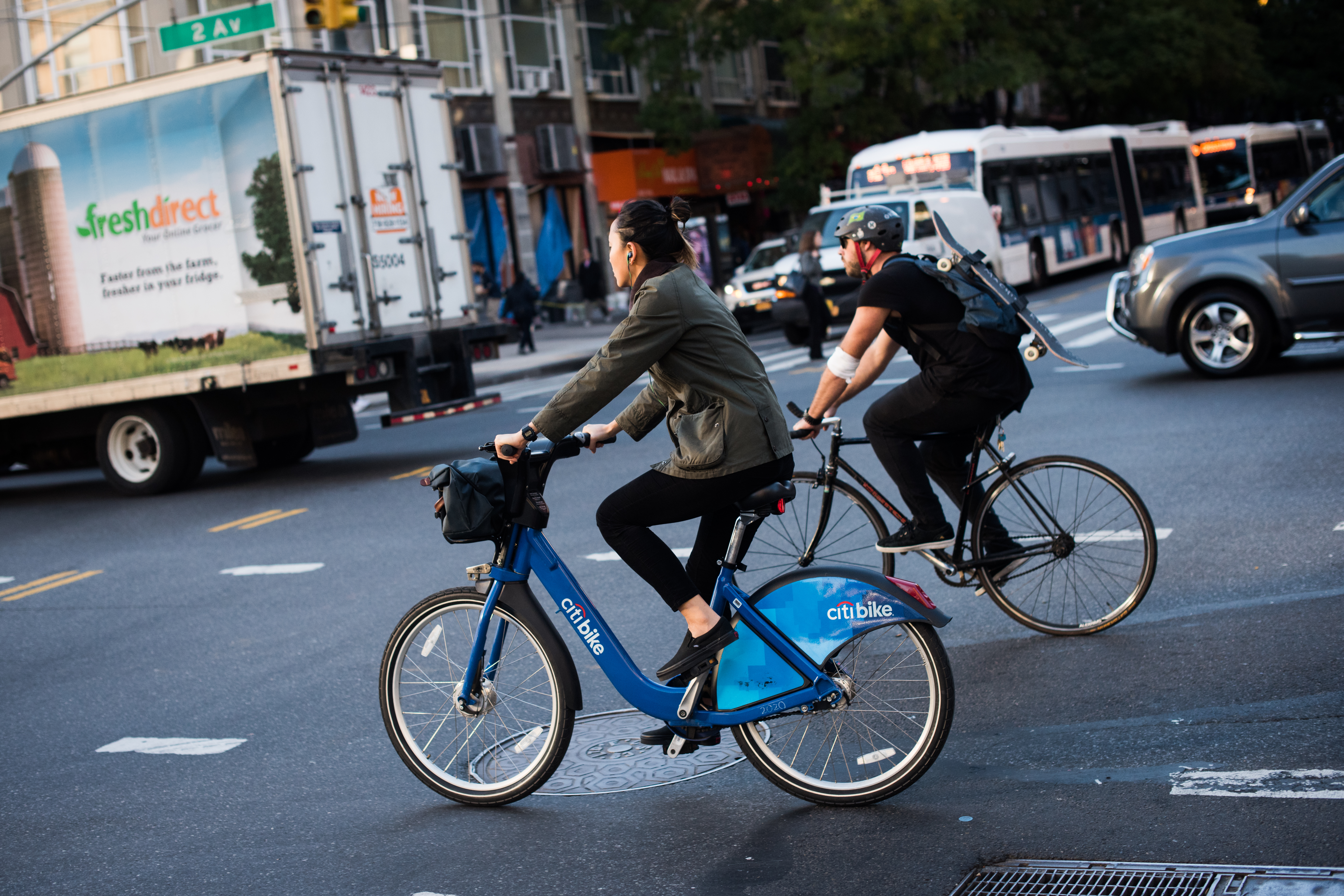 A cyclist rides a Citi Bike in the East Village neighborhood of New York, U.S., on Tuesday, Oct. 11, 2016.