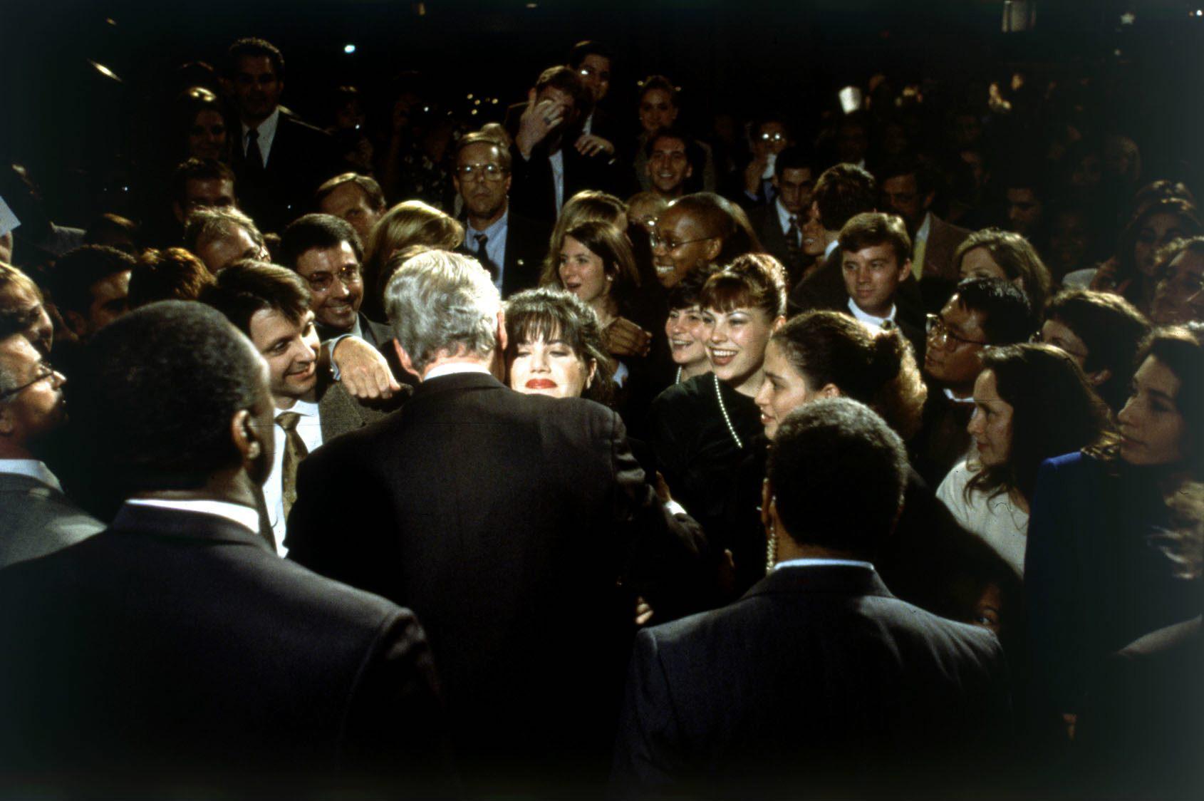 Bill Clinton hugs Monica Lewinsky