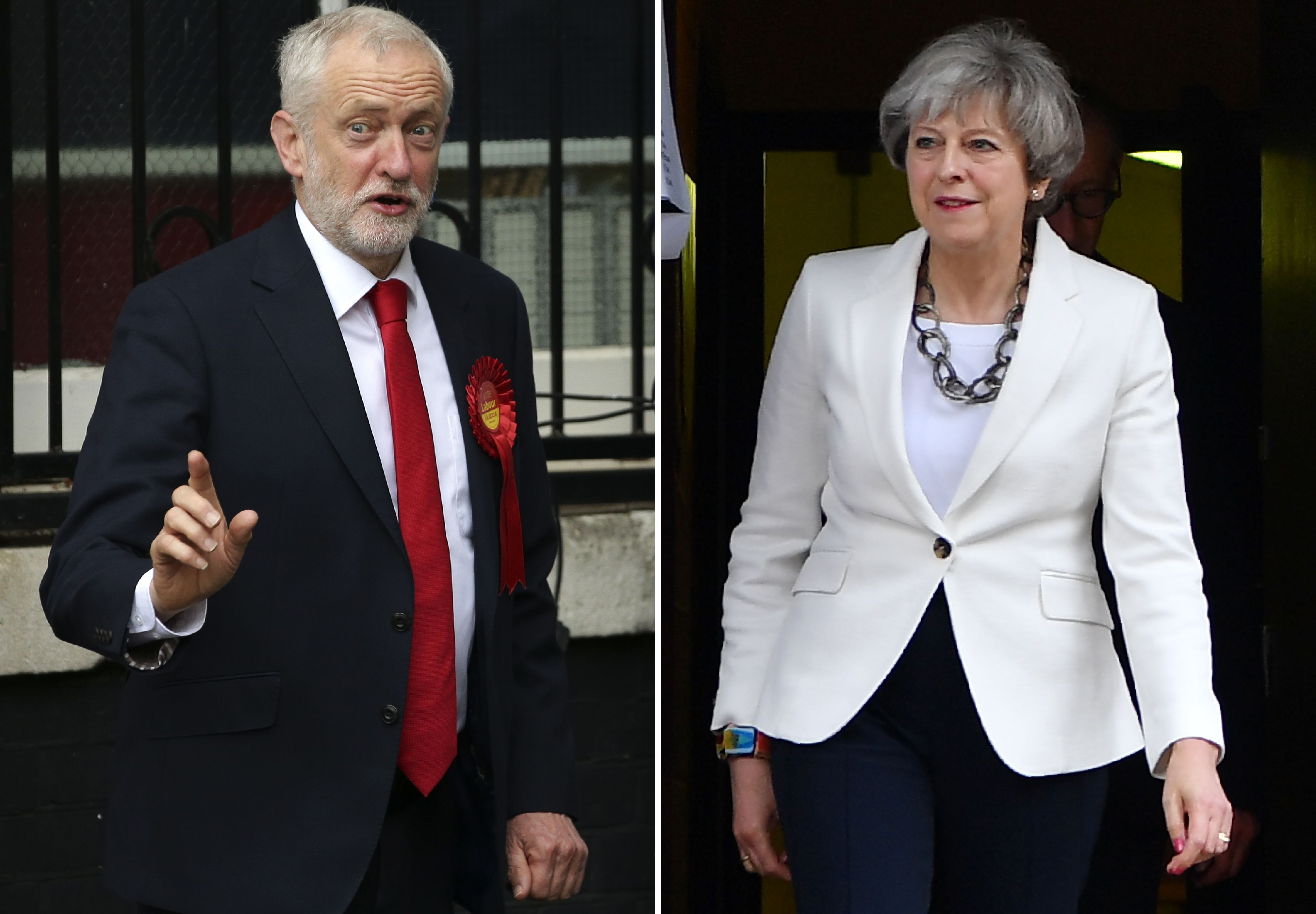 This combination picture shows opposition Labour party leader Jeremy Corbyn (L) voting in north London and British Prime Minister Theresa May voting in Maidenhead on June 8, 2017 during 