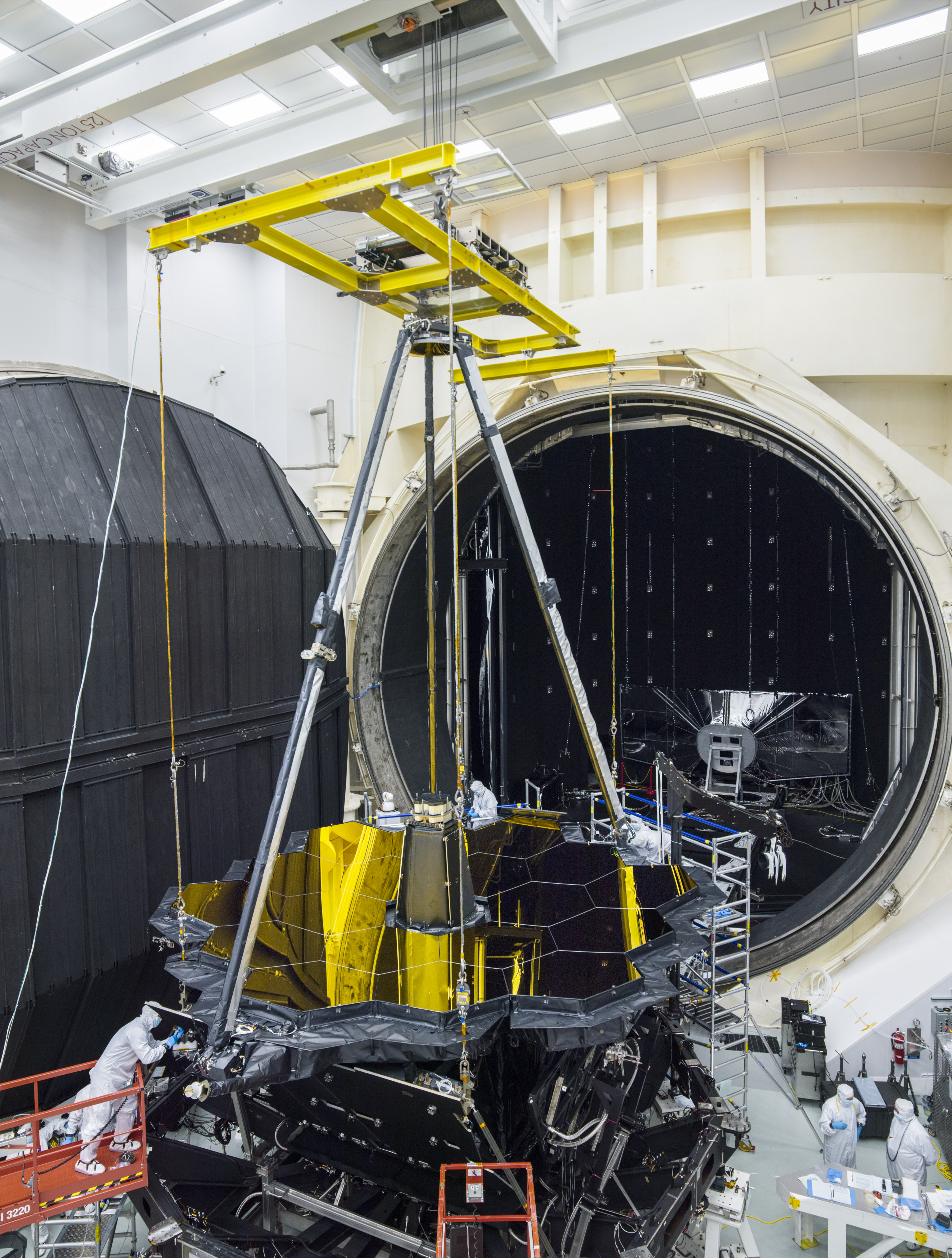 The James Webb Space Telescope for testing being placed in a thermal vacuum chamber.