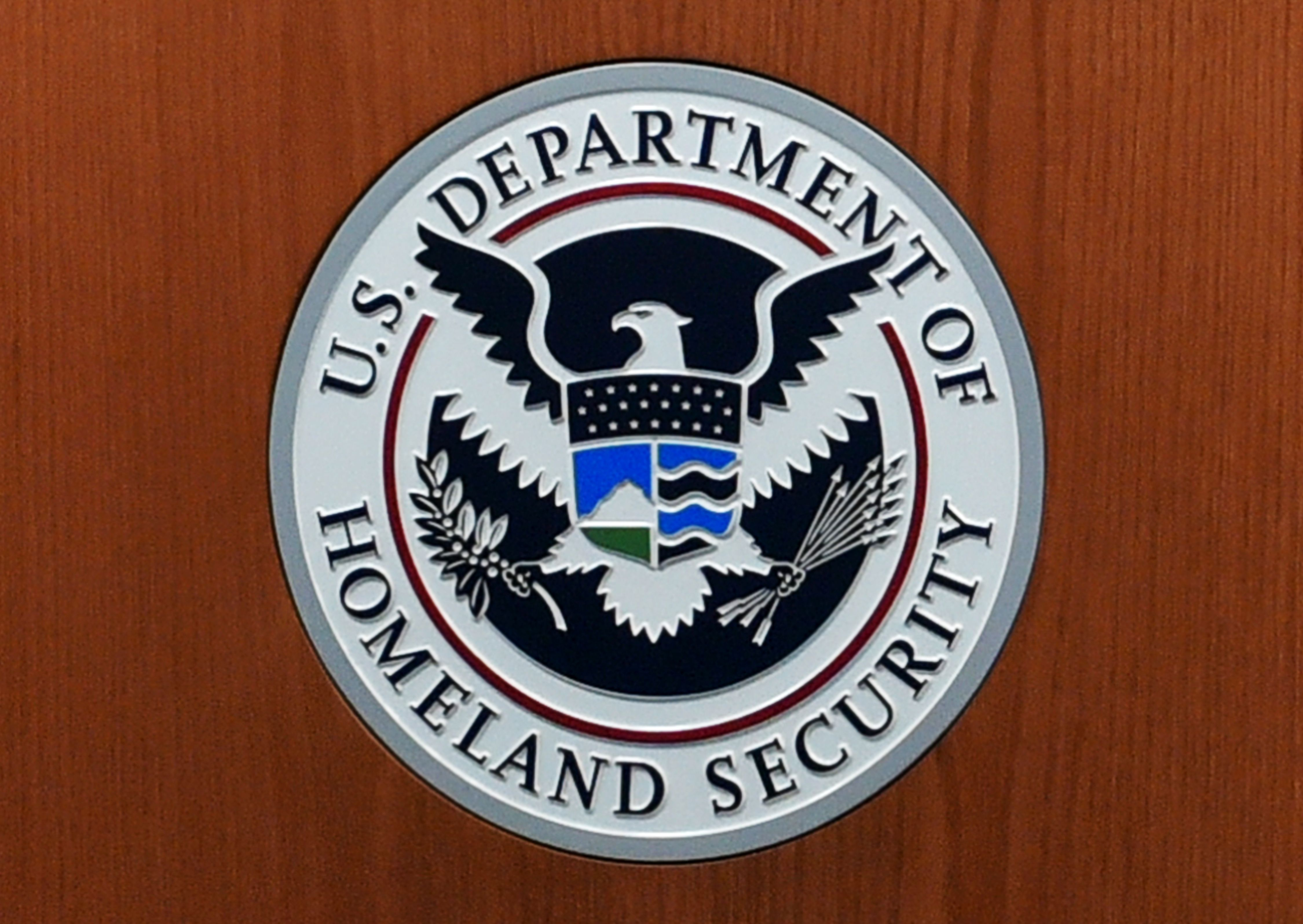 The seal of the U.S. Department of Homeland Security in the U.S. Customs and Border Protection Press Room at the Reagan Building in Washington, D.C., on March 6, 2017.