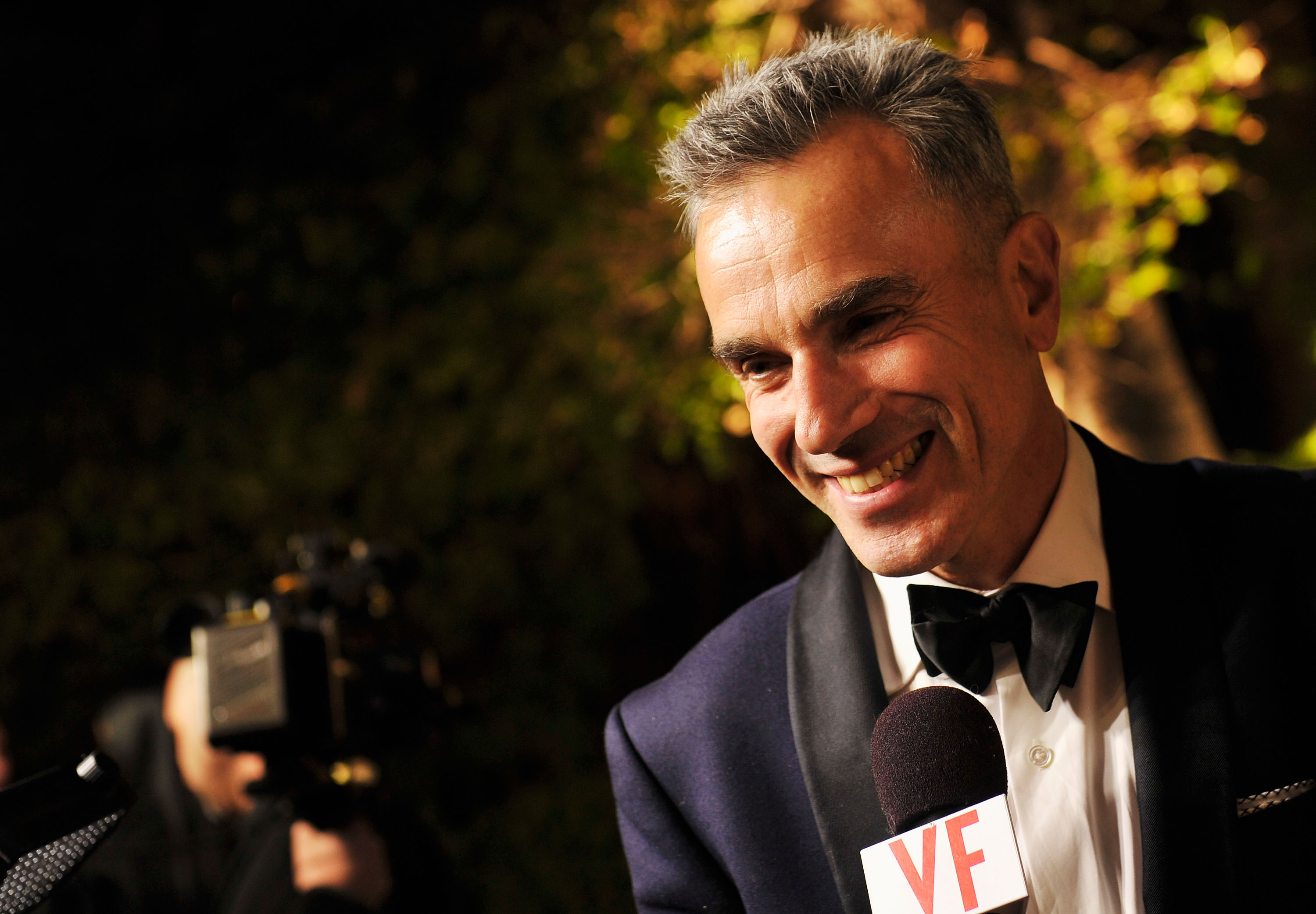 Daniel Day-Lewis arrives for the 2013 Vanity Fair Oscar Party hosted by Graydon Carter at Sunset Tower on February 24, 2013.