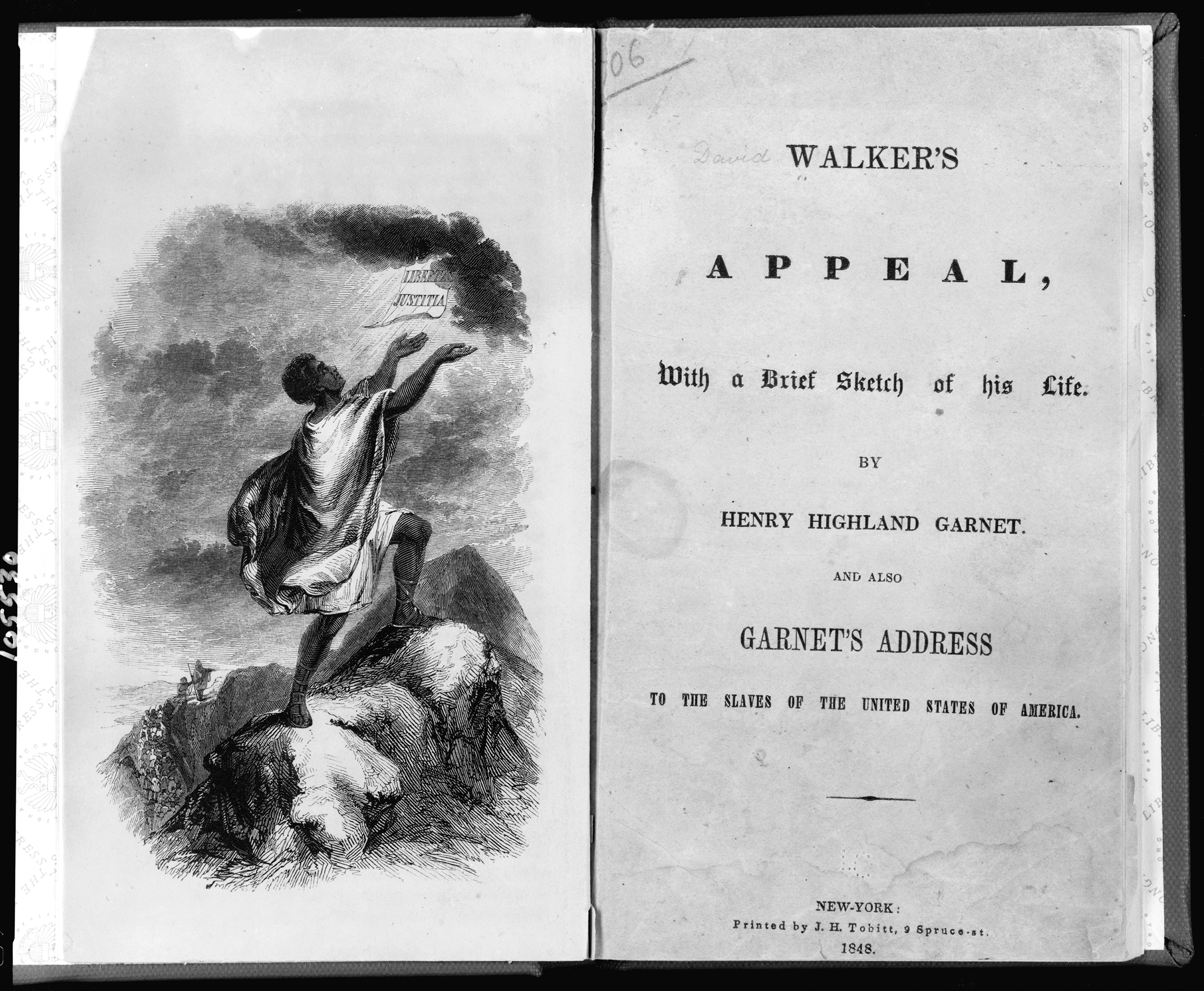 Title page showing slave on top of mountain from David Walkers Appeal.