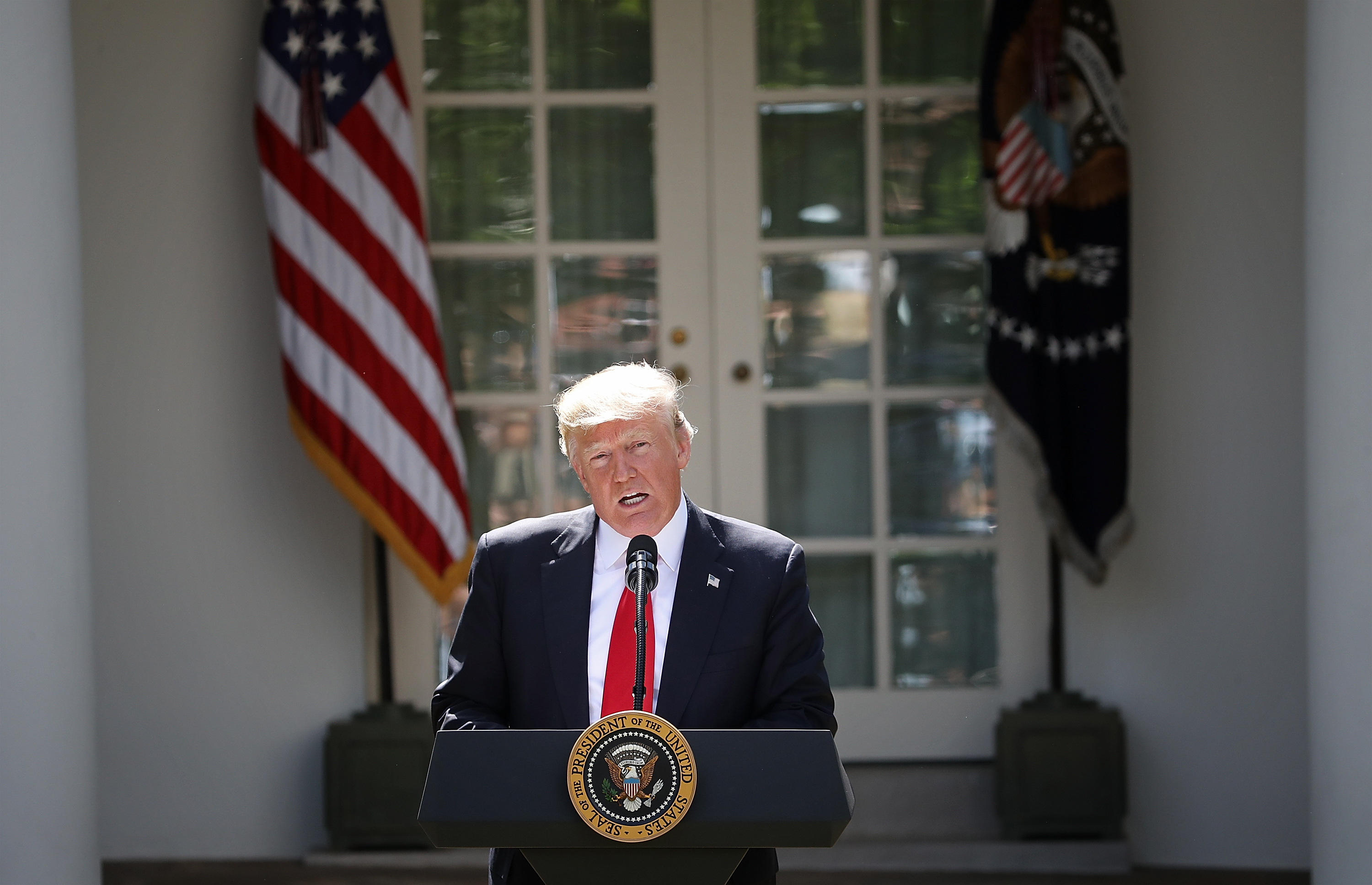 President Donald Trump announces his decision for the United States to pull out of the Paris climate agreement in the Rose Garden at the White House June 1, 2017 in Washington, D.C.