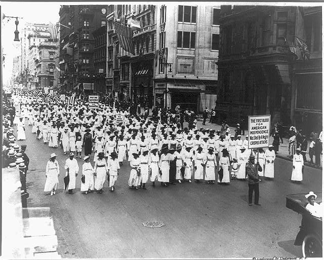 Silent protest parade in New York City on July 28, 2017, three weeks after the East St. Louis riots.
