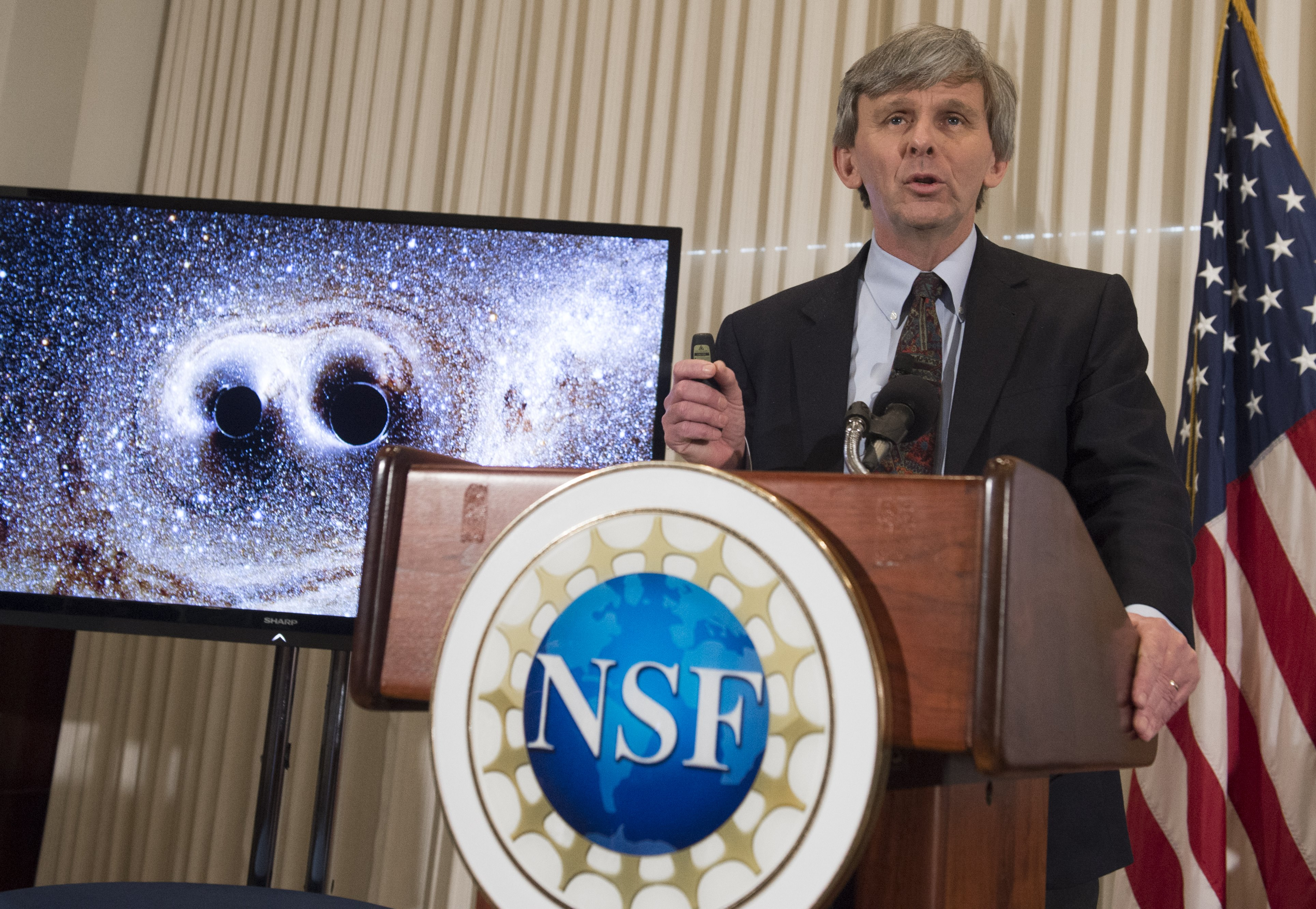 David Reitze, executive director of the LIGO Laboratory at Caltech, announces that scientists have observed ripples in the fabric of spacetime called gravitational waves for the first time, confirming a prediction of Albert Einstein's theory of relativity, during a press conference at the National Press Club in Washington, DC, February 11, 2016.                     The machines that gave scientists their first-ever glimpse at gravitational waves are the most advanced detectors ever built for sensing tiny vibrations in the universe.The two US-based underground detectors are known as the Laser Interferometer Gravitational-wave Observatory, or LIGO for short.