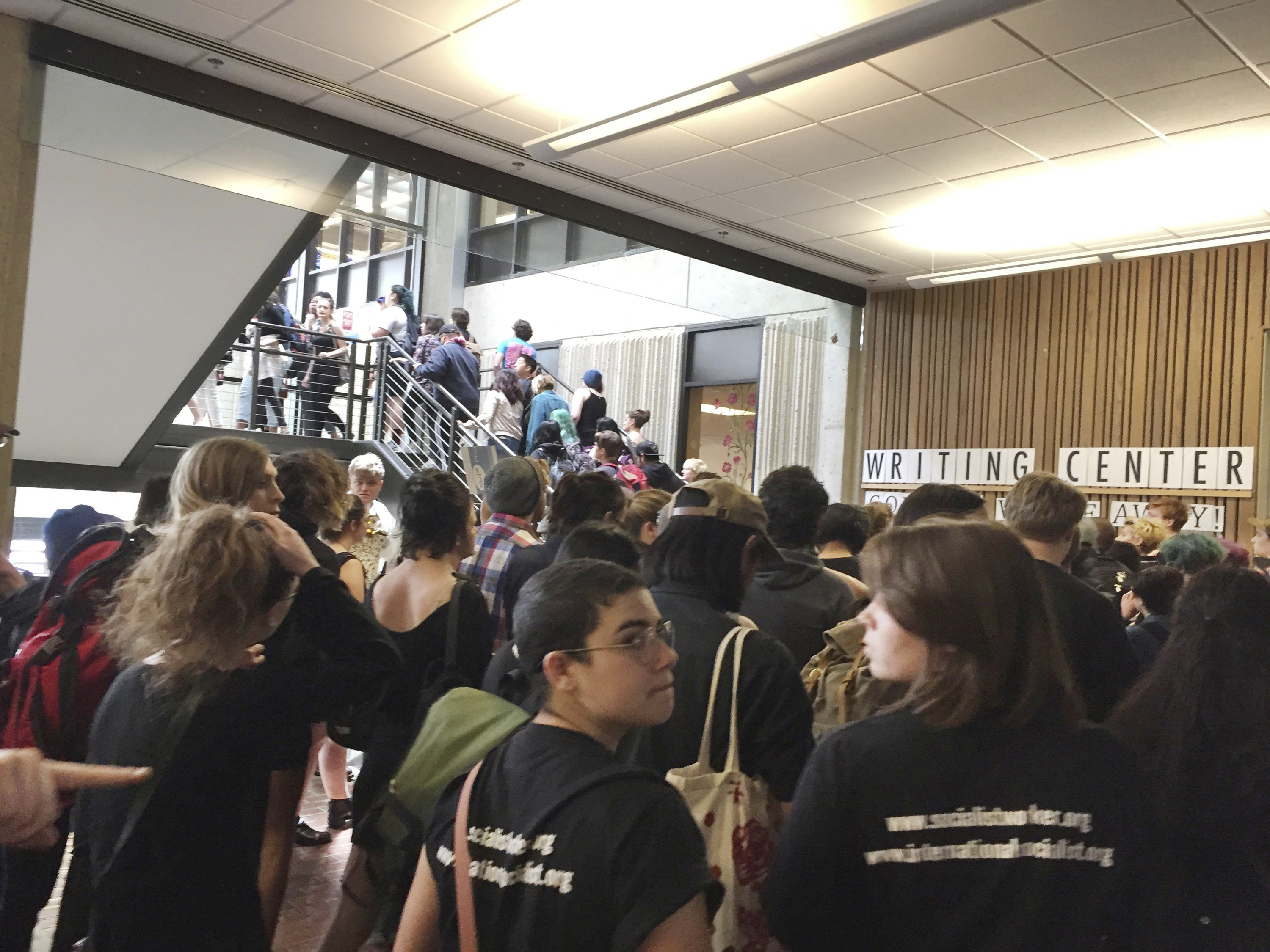 In this Wednesday, May 24, 2017 file photo, hundreds of students at the Evergreen State College in Olympia, Wash., protest against the college administration and demanded change after weeks of brewing racial tension on campus.