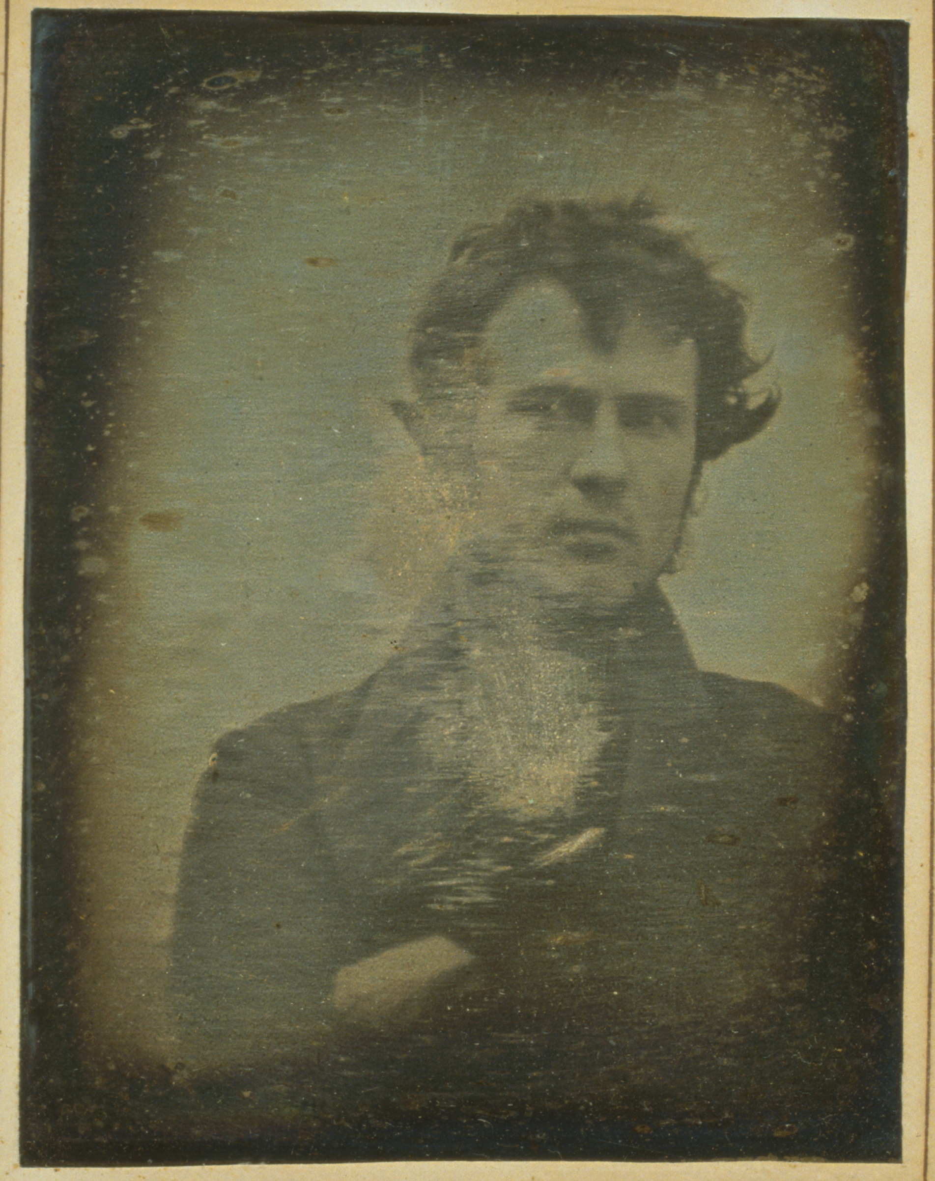 The first photographic selfie by Philadelphia photographer Robert Cornelius.