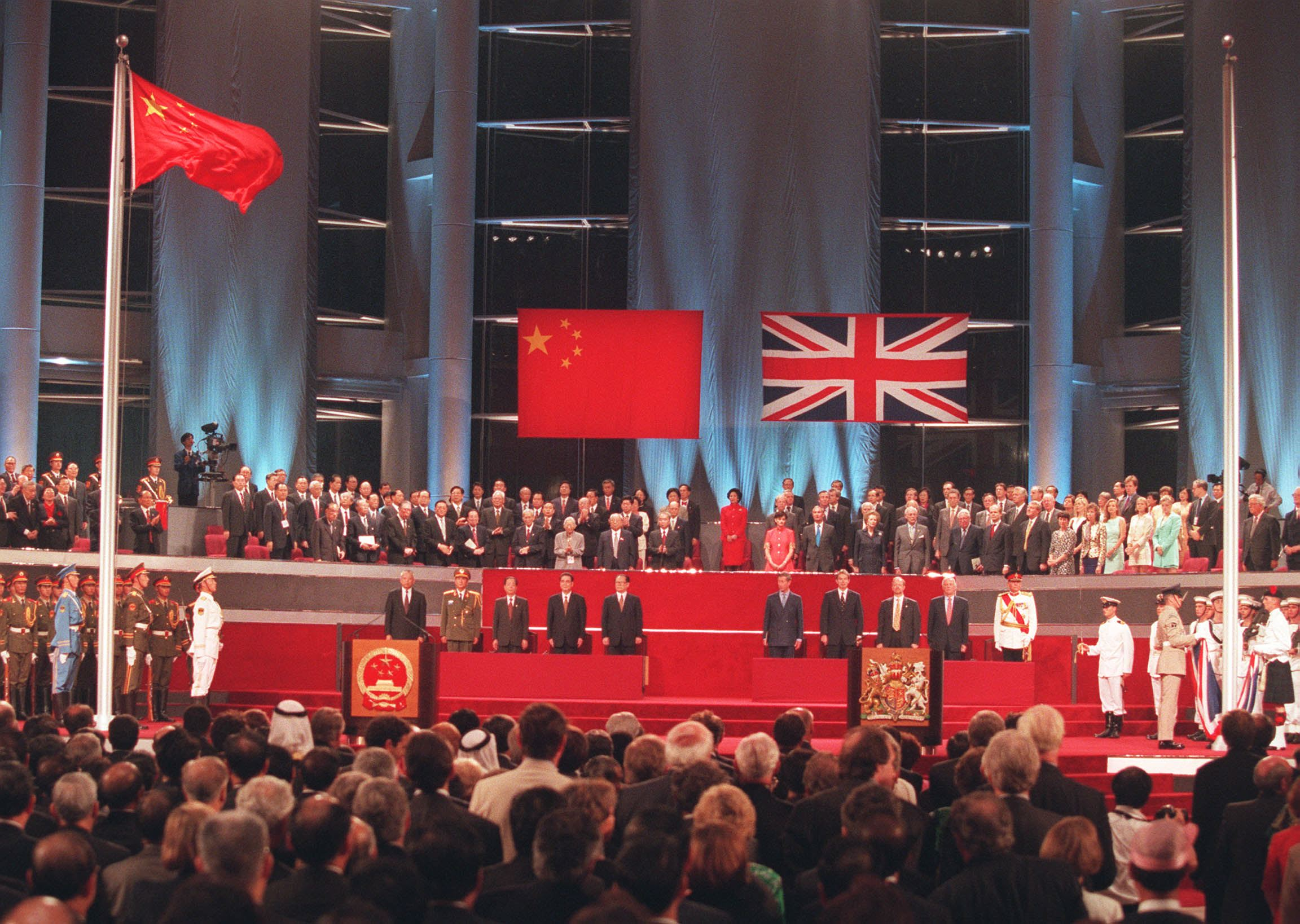The handover ceremony July 1 showing the Chinese flag flying after the Union Jack was lowered.