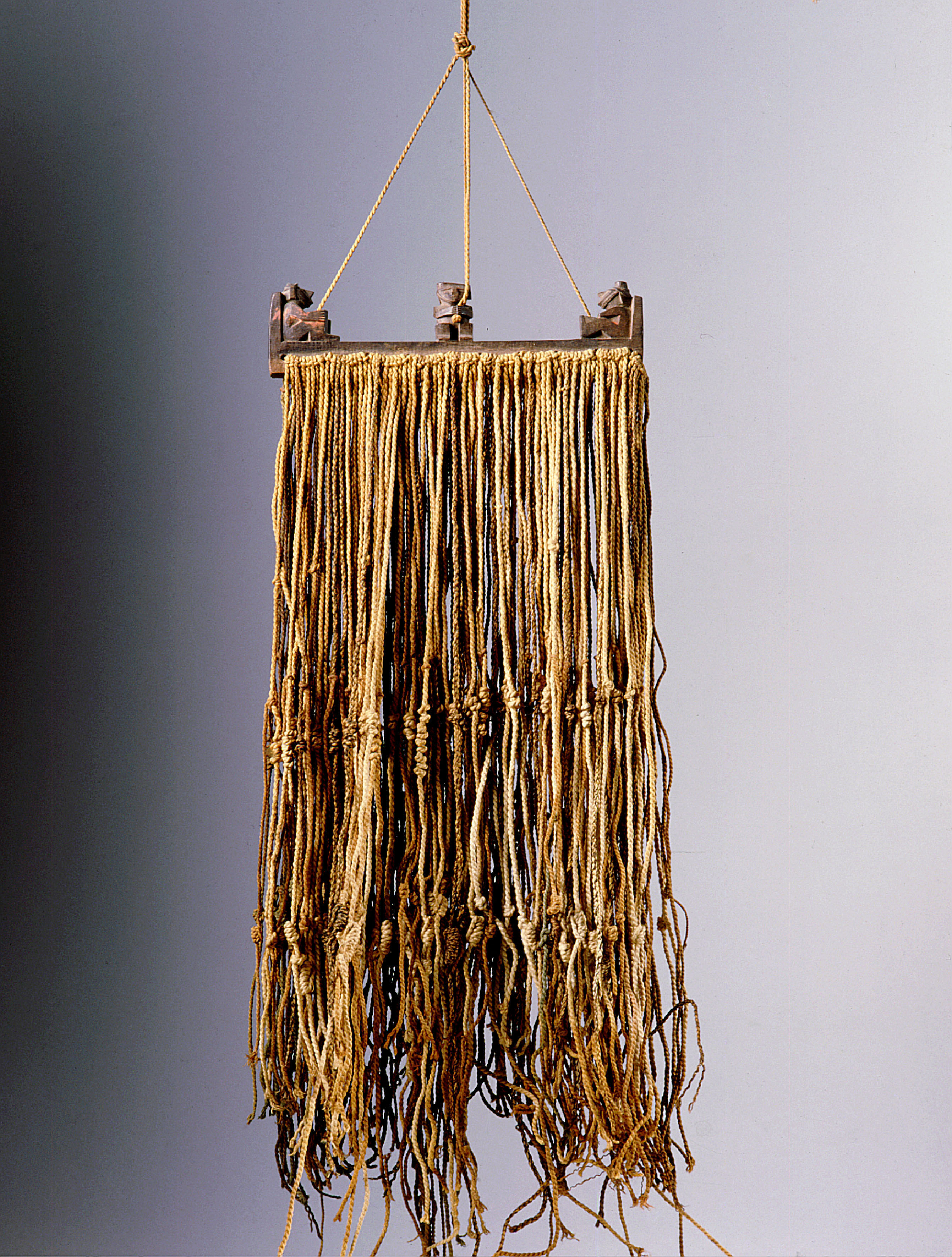 The quipu was a series of knotted strings by which the Inca kept their administrative records. Peru. Inca. 1430-1532 AD.
