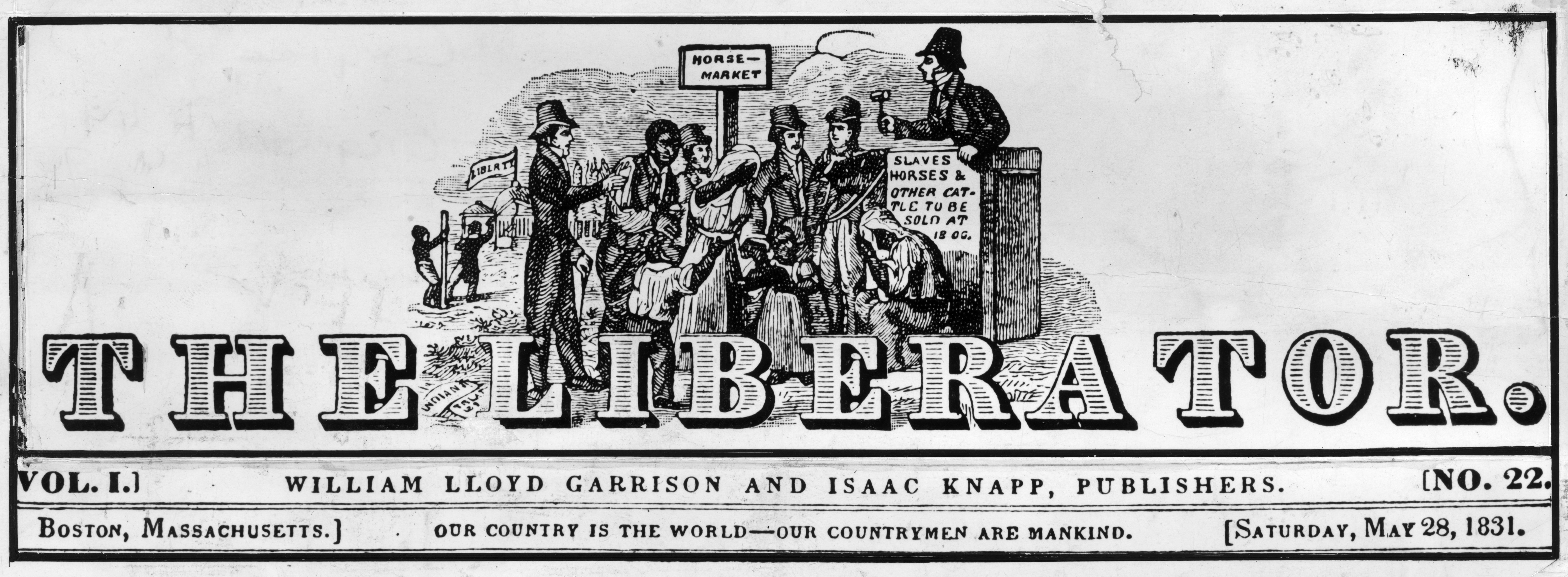 Letterhead of the William Lloyd Garrison campaigning paper 'The Liberator' published in Boston, Massachusetts, 1831.