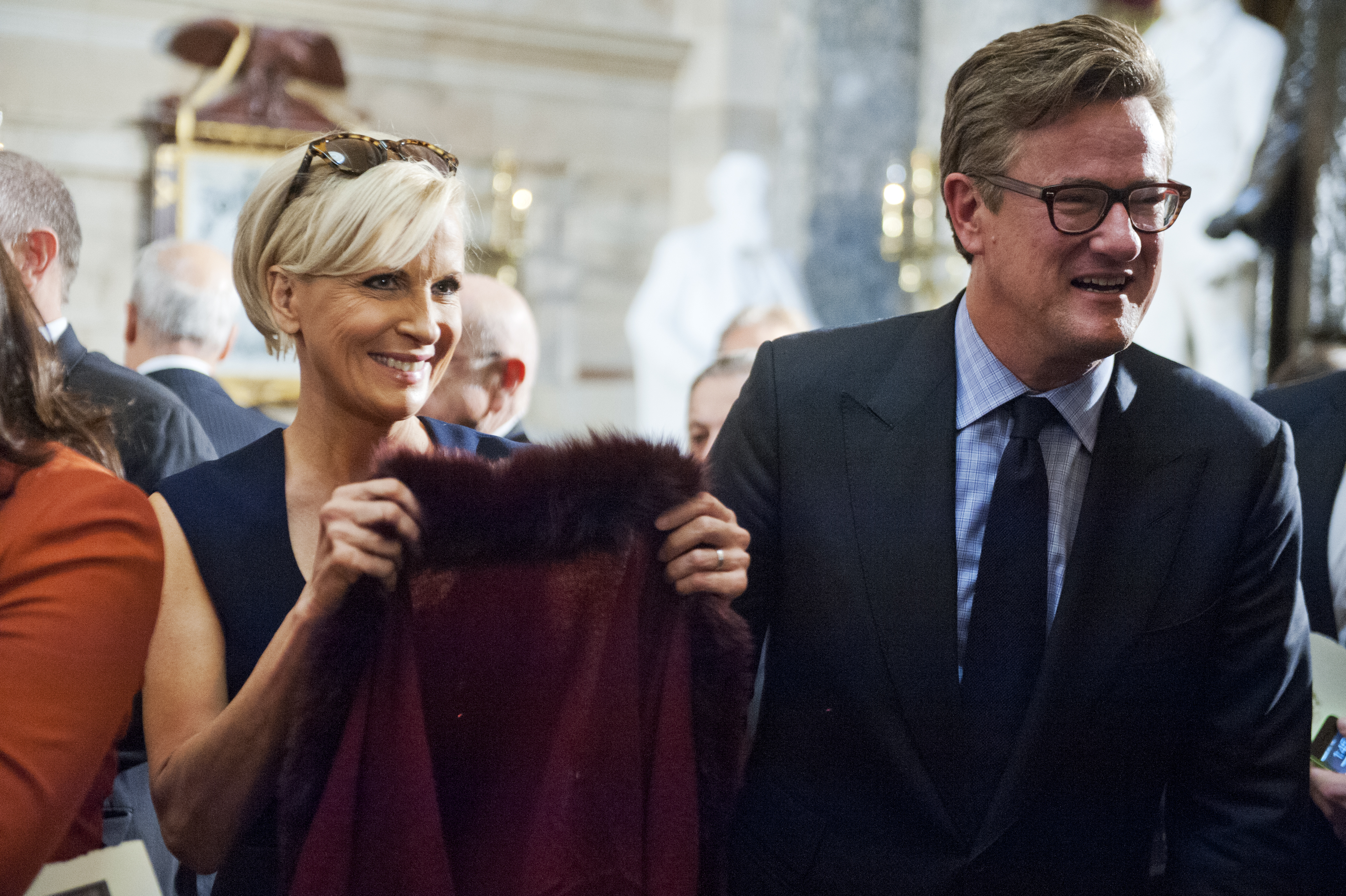 Television personality Mika Brzezinski, and her co-host Joe Scarborough, attend a bust unveiling ceremony for the late Czech leader Vaclav Havel in the Capitol's Statuary Hall, November 19, 2014.