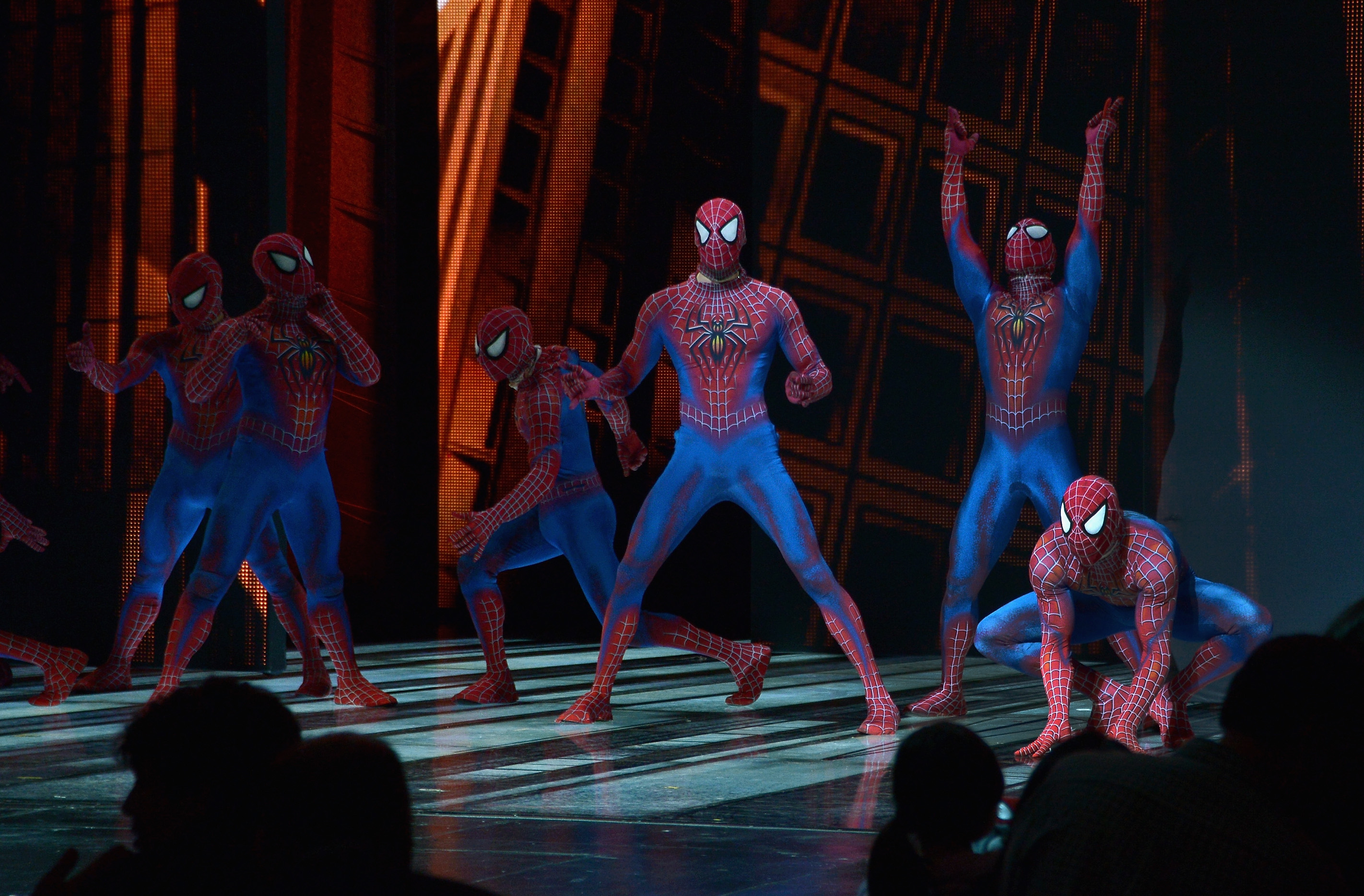NEW YORK, NY - JANUARY 04:  Stuntmen from  Spider-Man Turn Off The Dark  take a curtain call at the final performance of Broadway's  Spider-Man Turn Off The Dark   at Foxwoods Theater on January 4, 2014 in New York City.  (Photo by Mike Coppola/Getty Images)