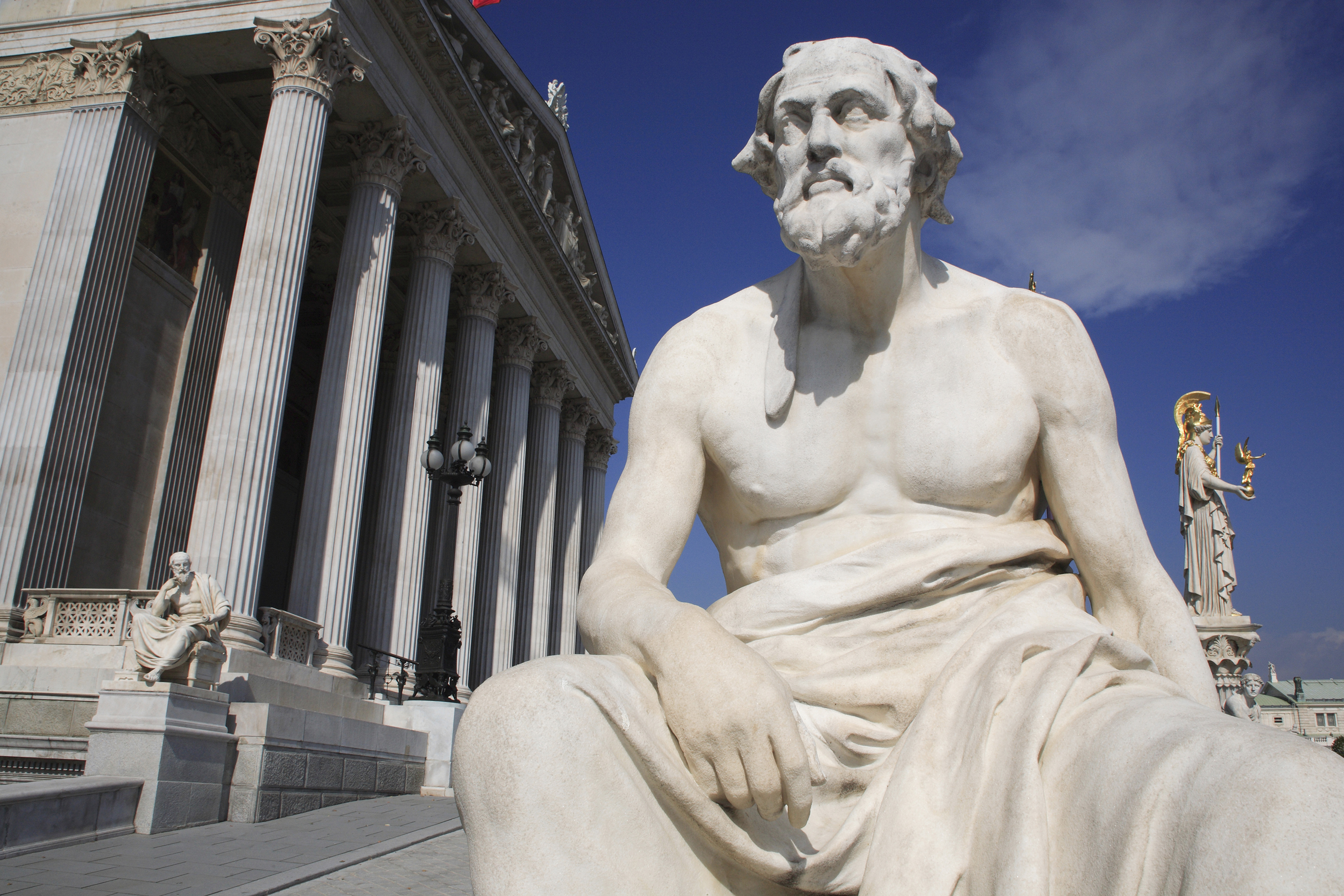 Statue of Greek philosopher Thucydides in front of Parliament building in Vienna, Austria.