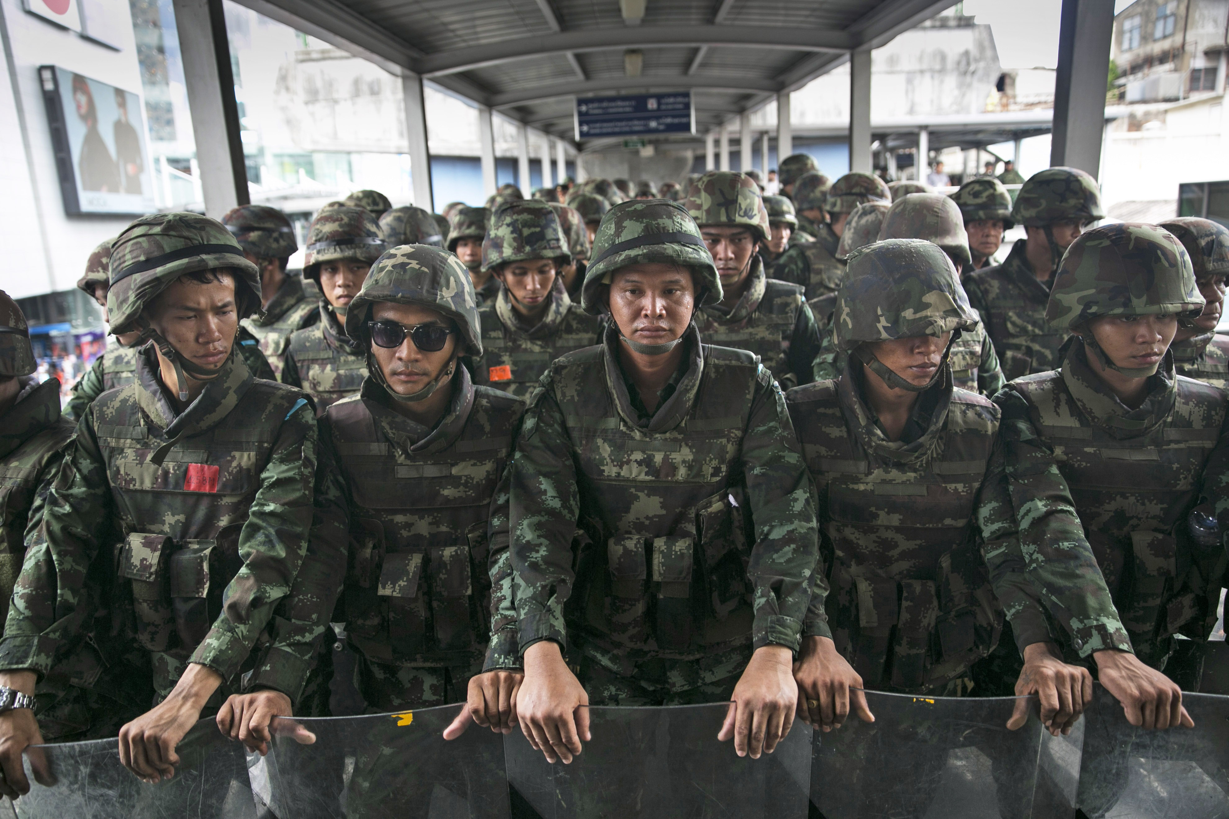 Thai military secure a bridge adjacent to the Bangkok sky train preventing demonstrators from protesting the ongoing coup on June 1, 2014 in Bangkok, Thailand.