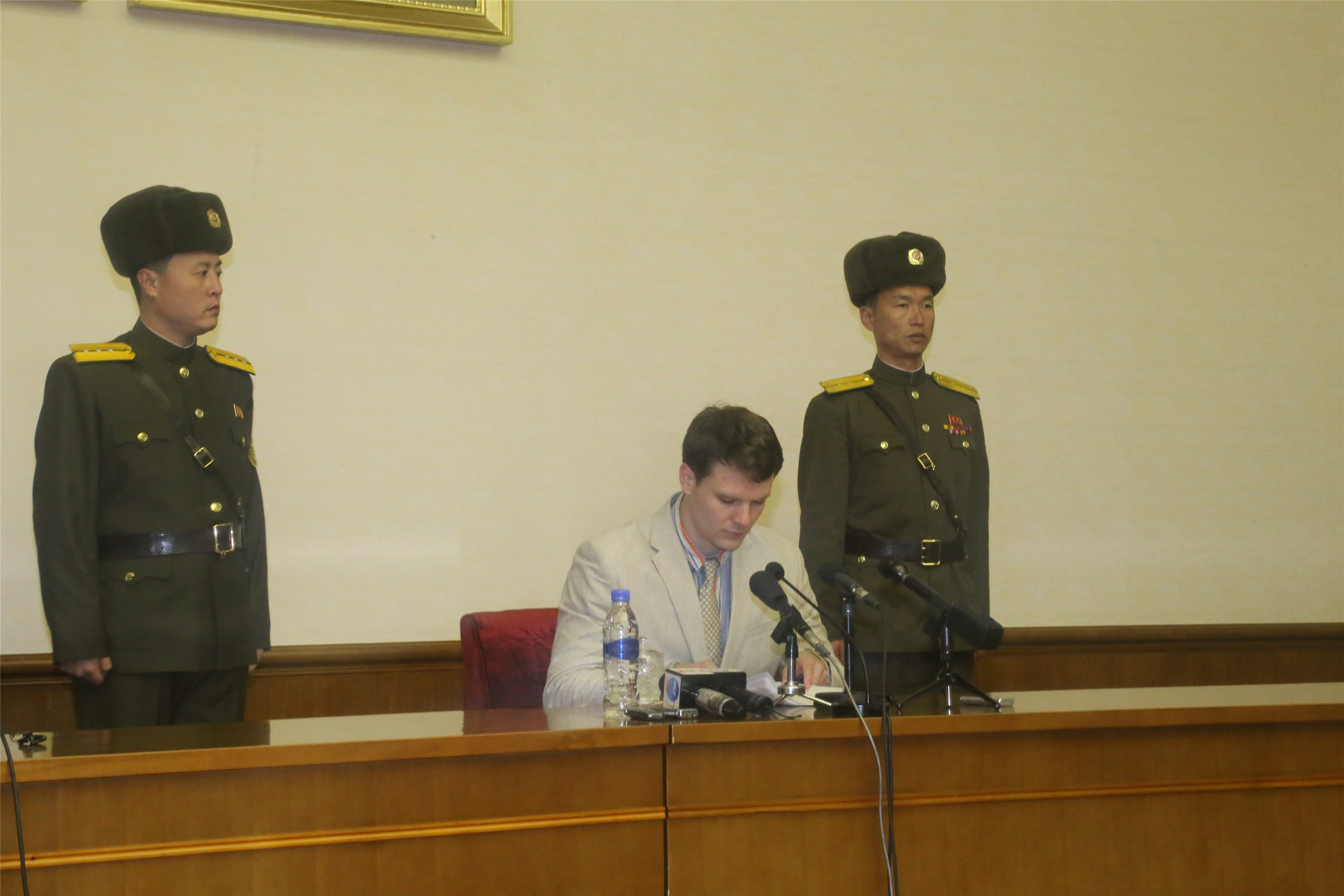 Otto Frederick Warmbier, a 21-year-old undergraduate student of commerce from Virginia University of the U.S., speaks during a news conference in Pyongyang, capital of the Democratic People's Republic of Korea, Feb. 29, 2016.