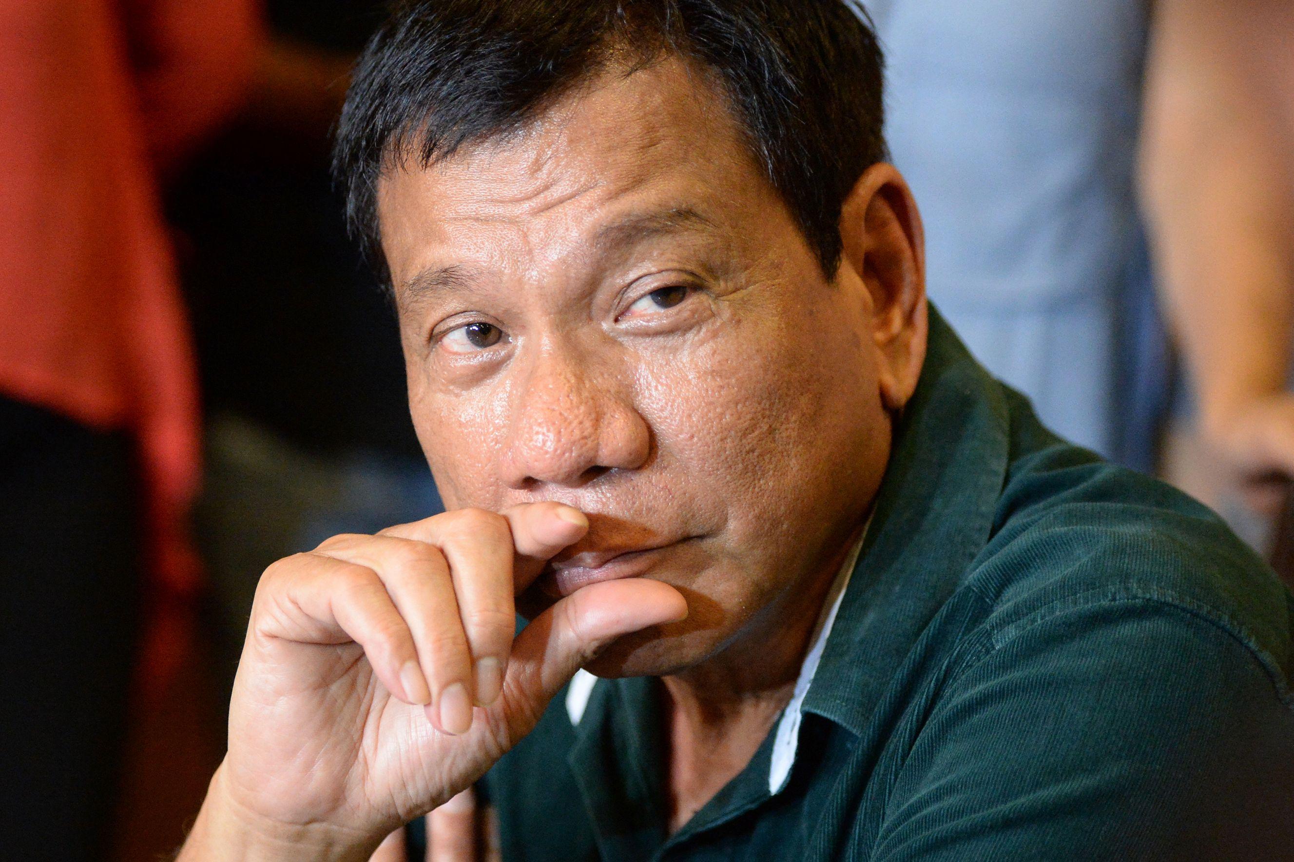 Philippine President Rodrigo Duterte in Davao City, pictured on May 15, 2016.