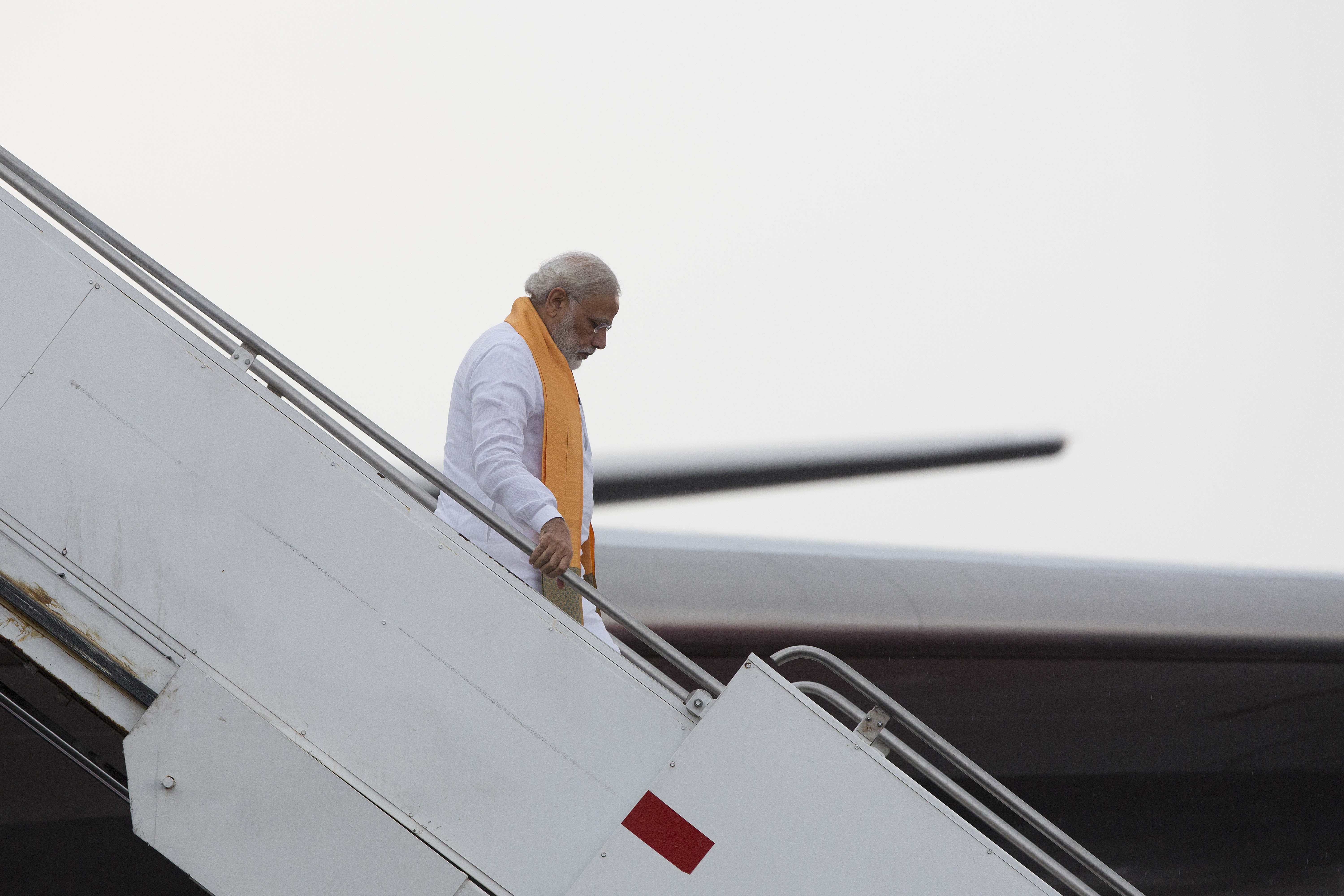Narendra Modi, India's prime minister, disembarks an Air India Ltd. aircraft in Mexico City, Mexico, on Wednesday, June 8, 2016.