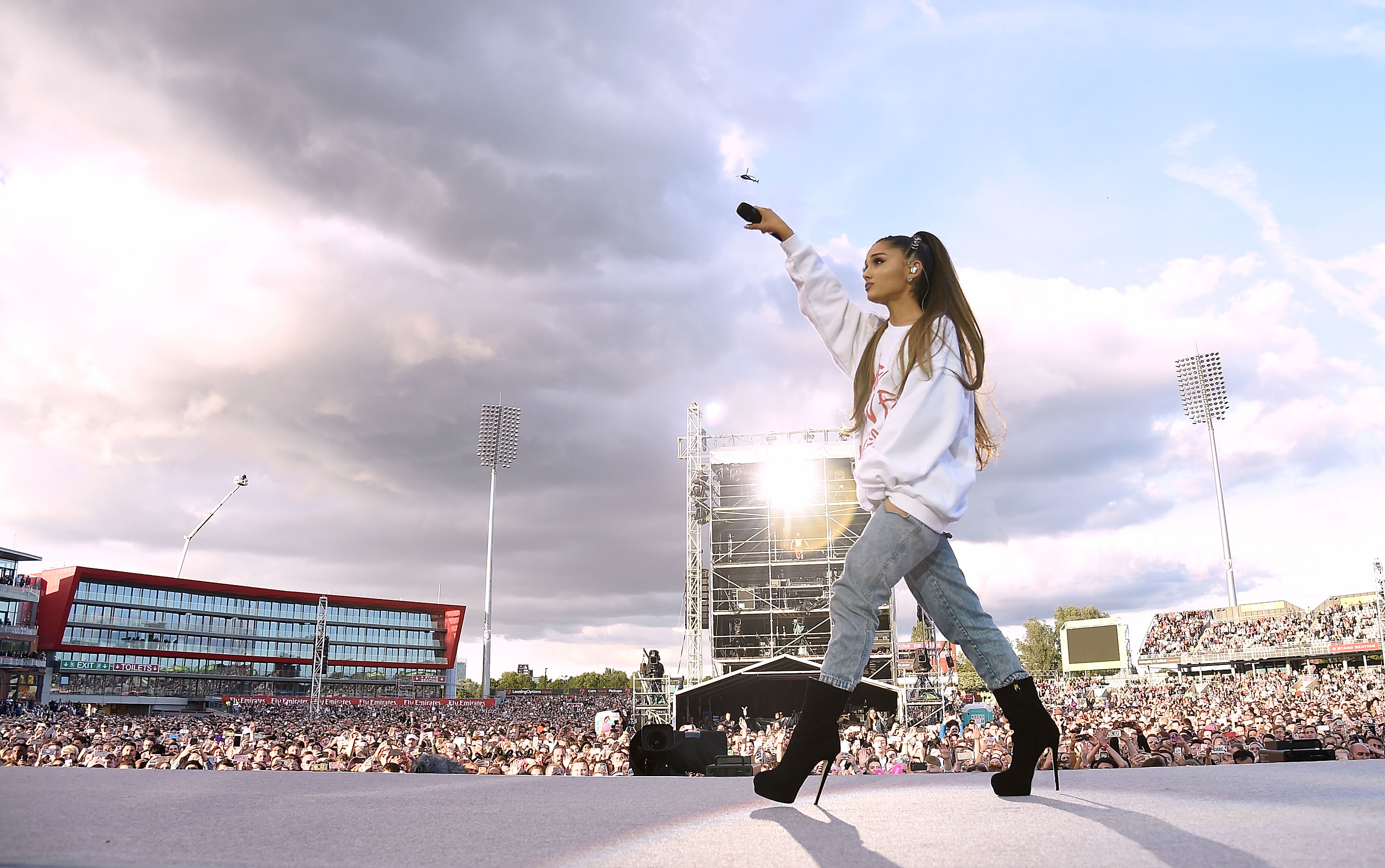 Ariana Grande performs on stage during the One Love Manchester Benefit Concert at Old Trafford on June 4, 2017 in Manchester, England.