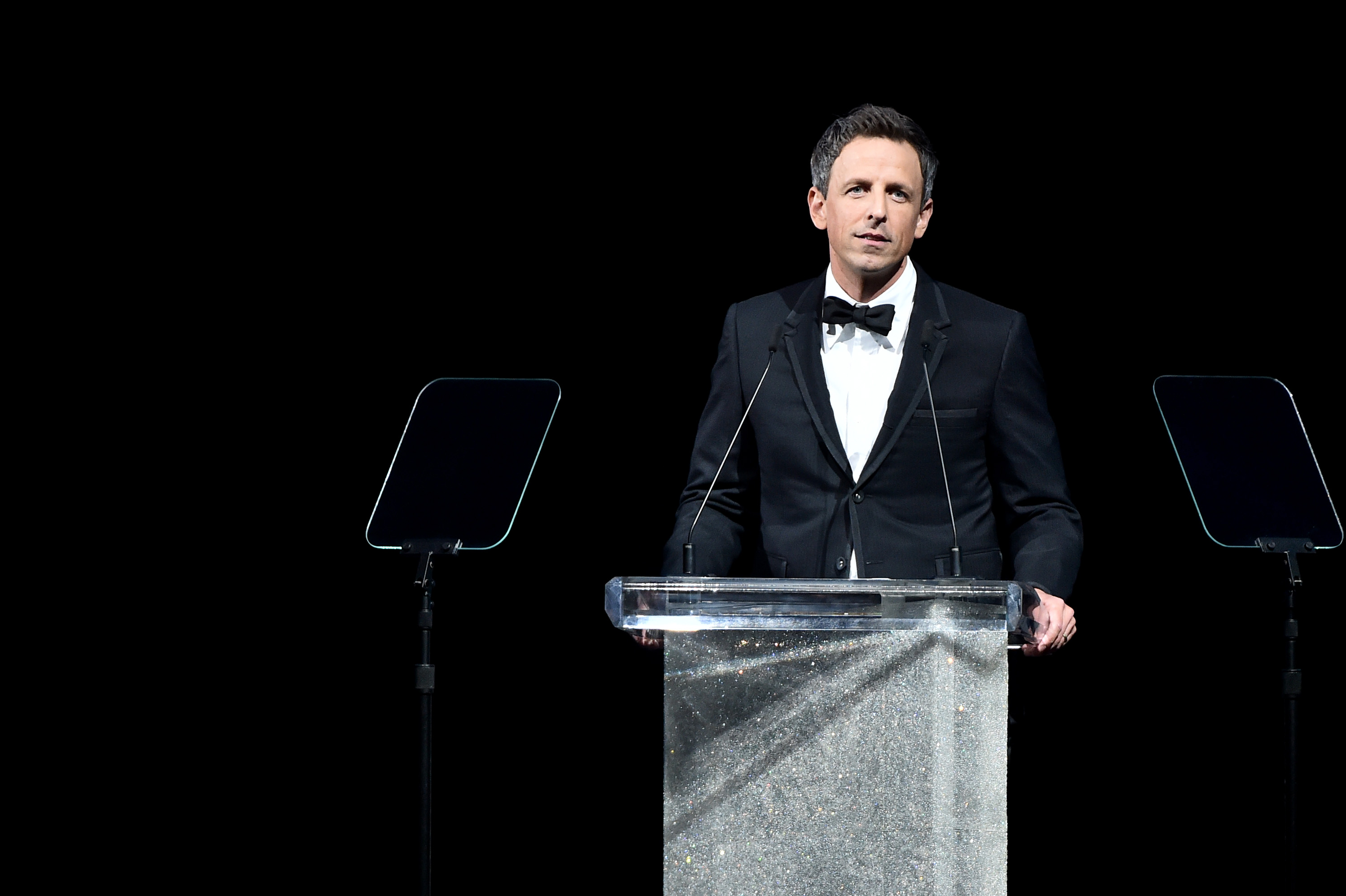 NEW YORK, NY - JUNE 05:  Host Seth Meyers speaks onstage during the 2017 CFDA Fashion Awards at Hammerstein Ballroom on June 5, 2017 in New York City.  (Photo by Theo Wargo/Getty Images)