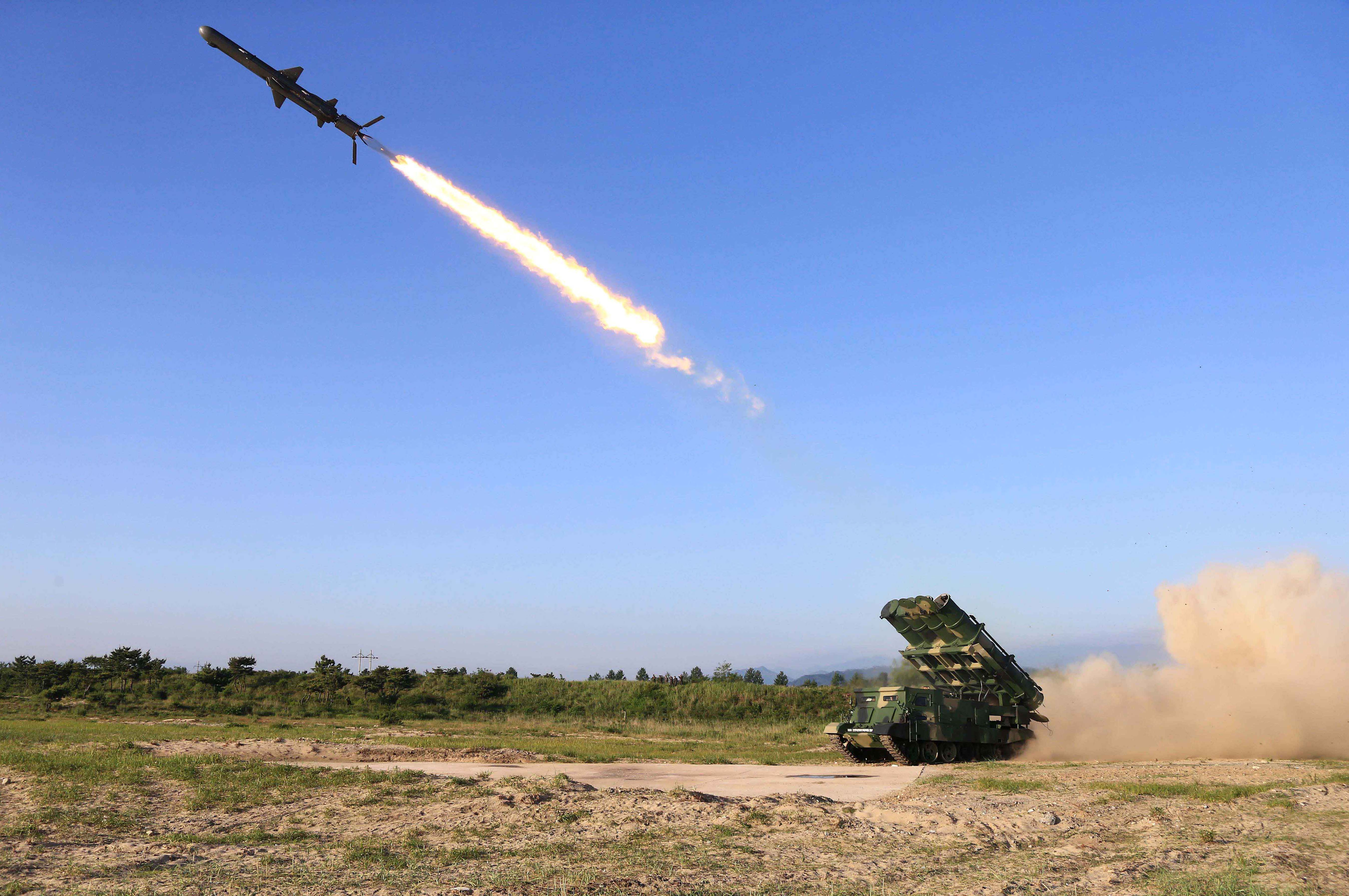 This undated picture released from North Korea's official Korean Central News Agency on June 9, 2017 shows a test-fire of a rocket  in North Korea.