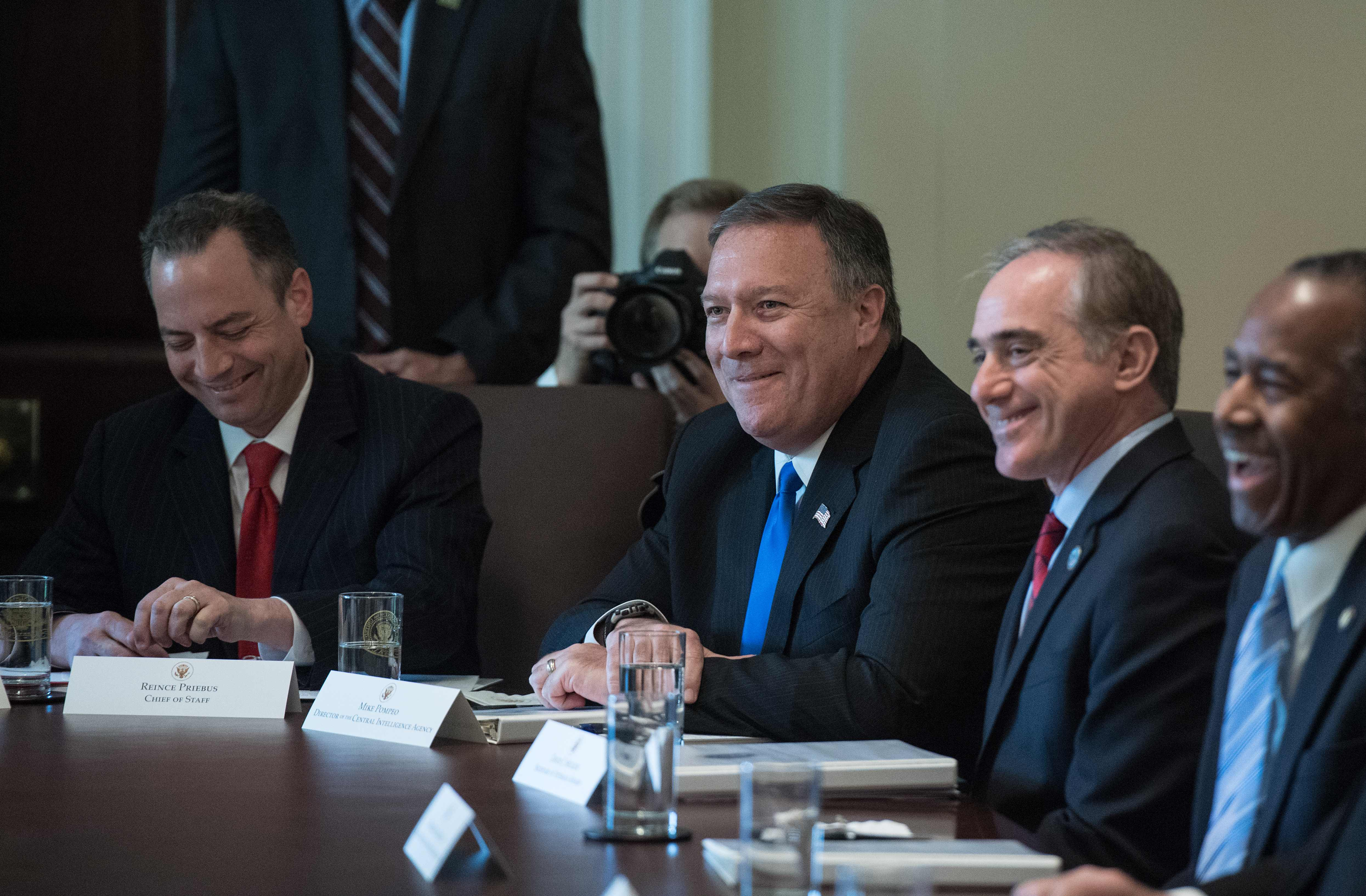(L-R) White House Chief of Staff Reince Priebus, CIA Director Mike Pompeo, Veran Affairs Secretary David Shulkin and Housing and Urban Development Secretary Ben Carson laugh during a cabinet meeting at the White House in Washington, DC, on June 12, 2017.