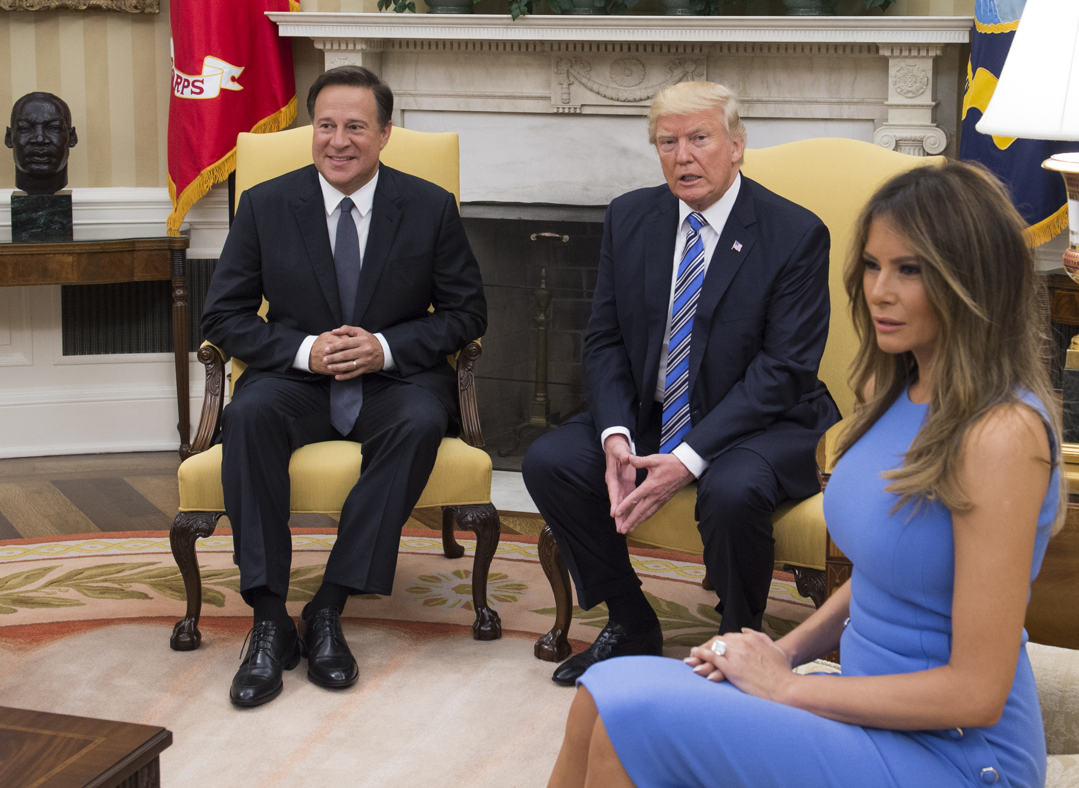 President Donald Trump meets with Panama's President Juan Carlos Varela in the Oval Office, with first lady Melania Trump, at the White House on June 19, 2017 in Washington, DC. According to the White House, the two presidents will talk about how to curb  transnational organized crime, illegal migration, and illicit substances   and the continued political and economic instability in Venezuela.