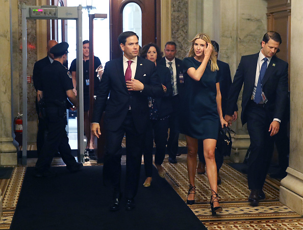 Ivanka Trump walks with Sen. Marco Rubio (R-FL), to a meeting with Senators regarding paid family leave, at U.S. Capitol on June 20, 2017 in Washington, DC.