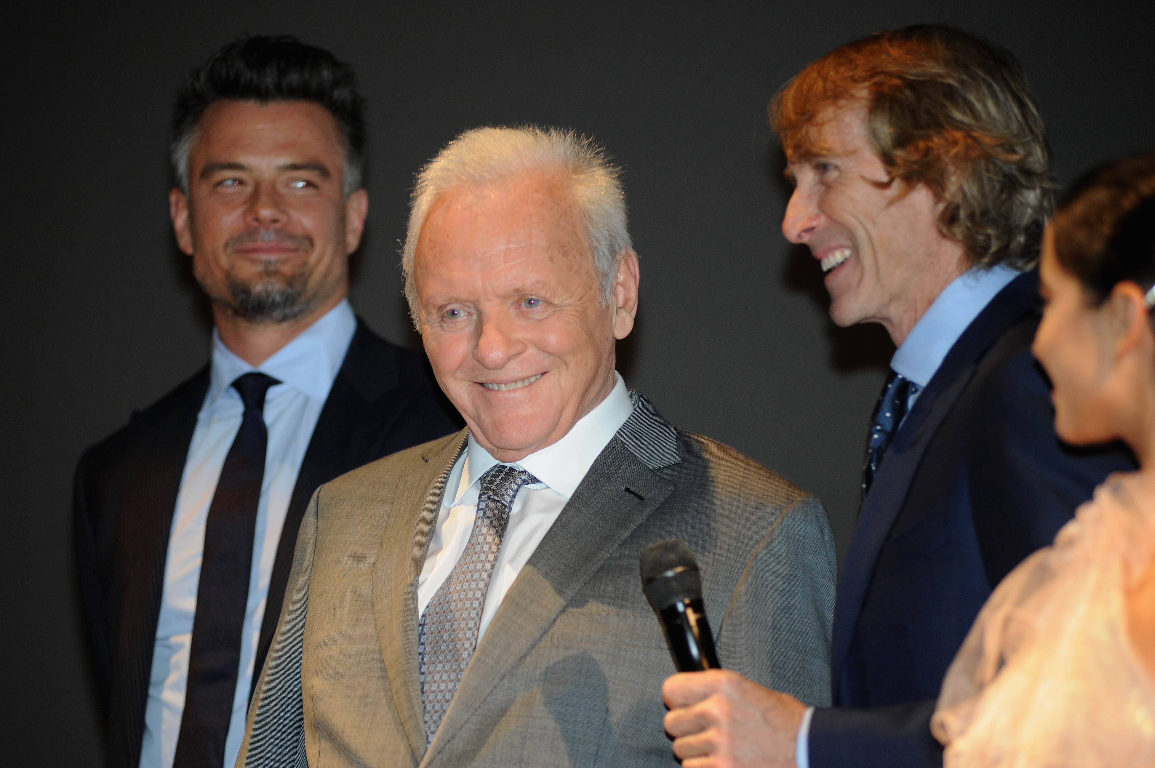 CHICAGO, IL - JUNE 20:  (L-R) Josh Duhamel, Sir Anthony Hopkins, Michael Bay, and Isabela Moner speak onstage at the US premiere of  Transformers: The Last Knight  at the Civic Opera House on June 20, 2017 in Chicago, Illinois.  (Photo by Timothy Hiatt/Getty Images for Paramount Pictures)