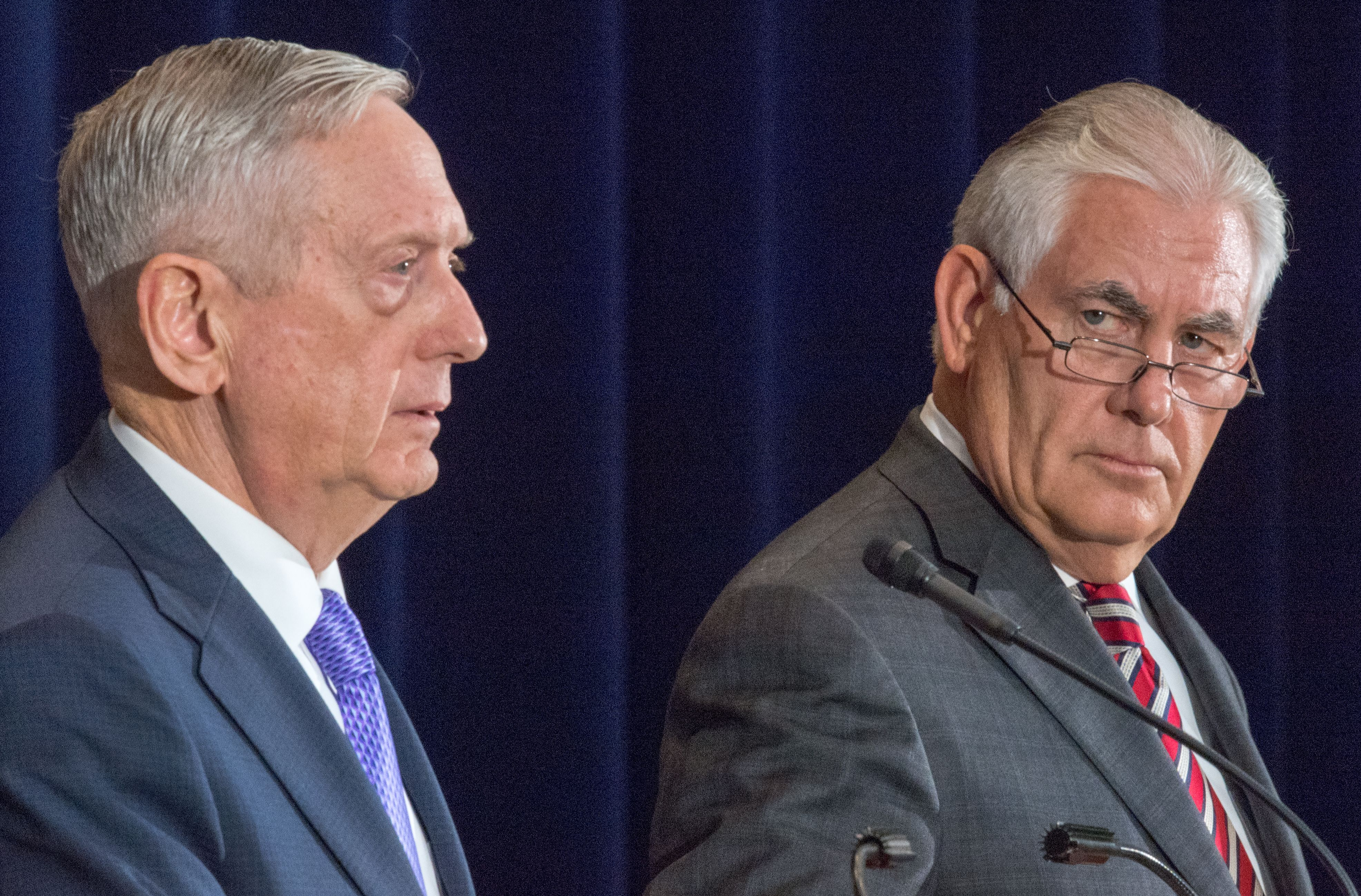 Secretary of Defense Jim Mattis and Secretary of State Rex Tillerson in Washington, DC, on June 21, 2017.