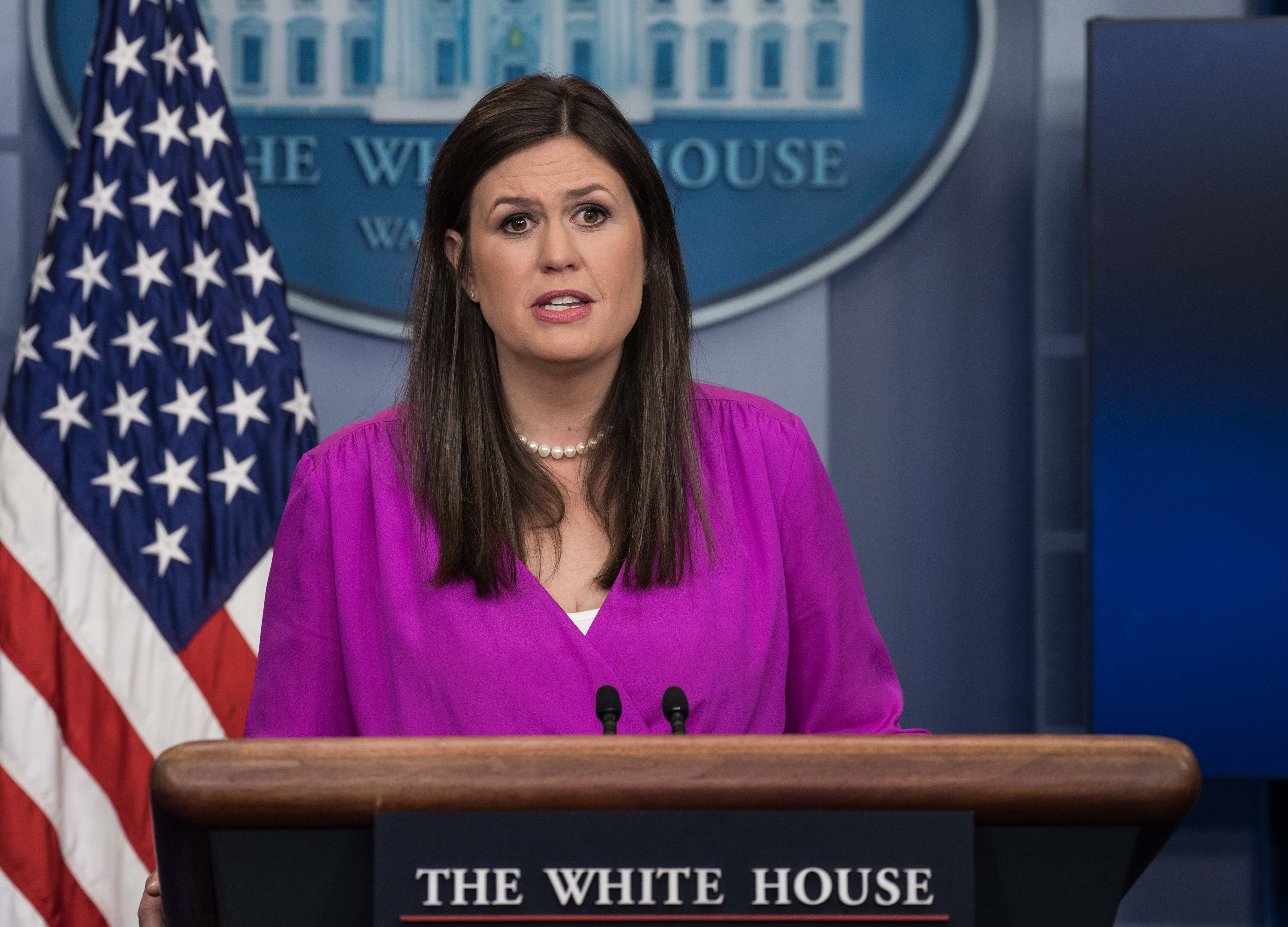 Principal Deputy White House Press Secretary Sarah Huckabee Sanders speaks at the press briefing at the White House in Washington, DC, on June 27, 2017.