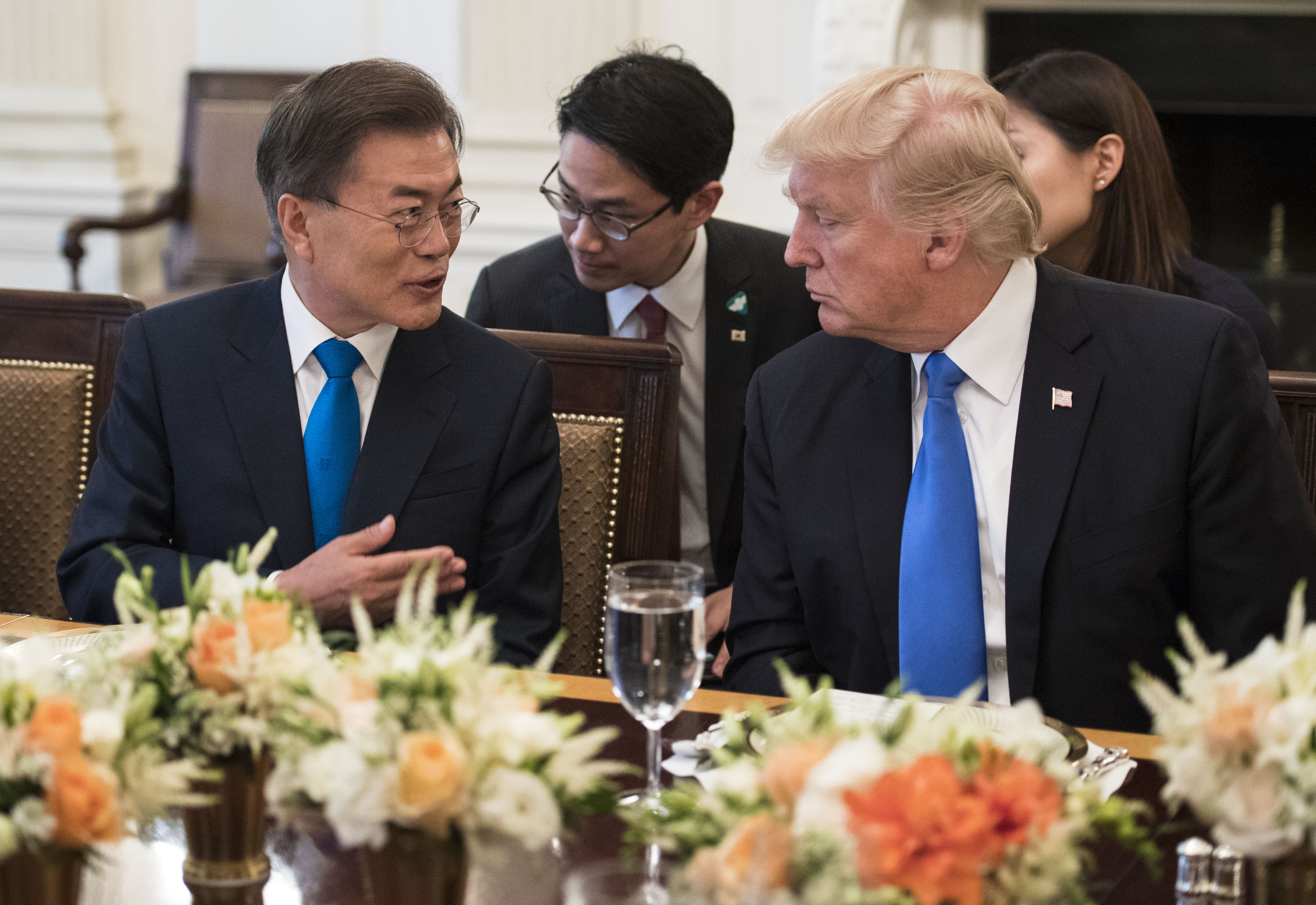 US President Donald Trump and South Korean President Moon Jae-in address the media prior to dinner at the White House June 29, 2017 in Washington, D.C.