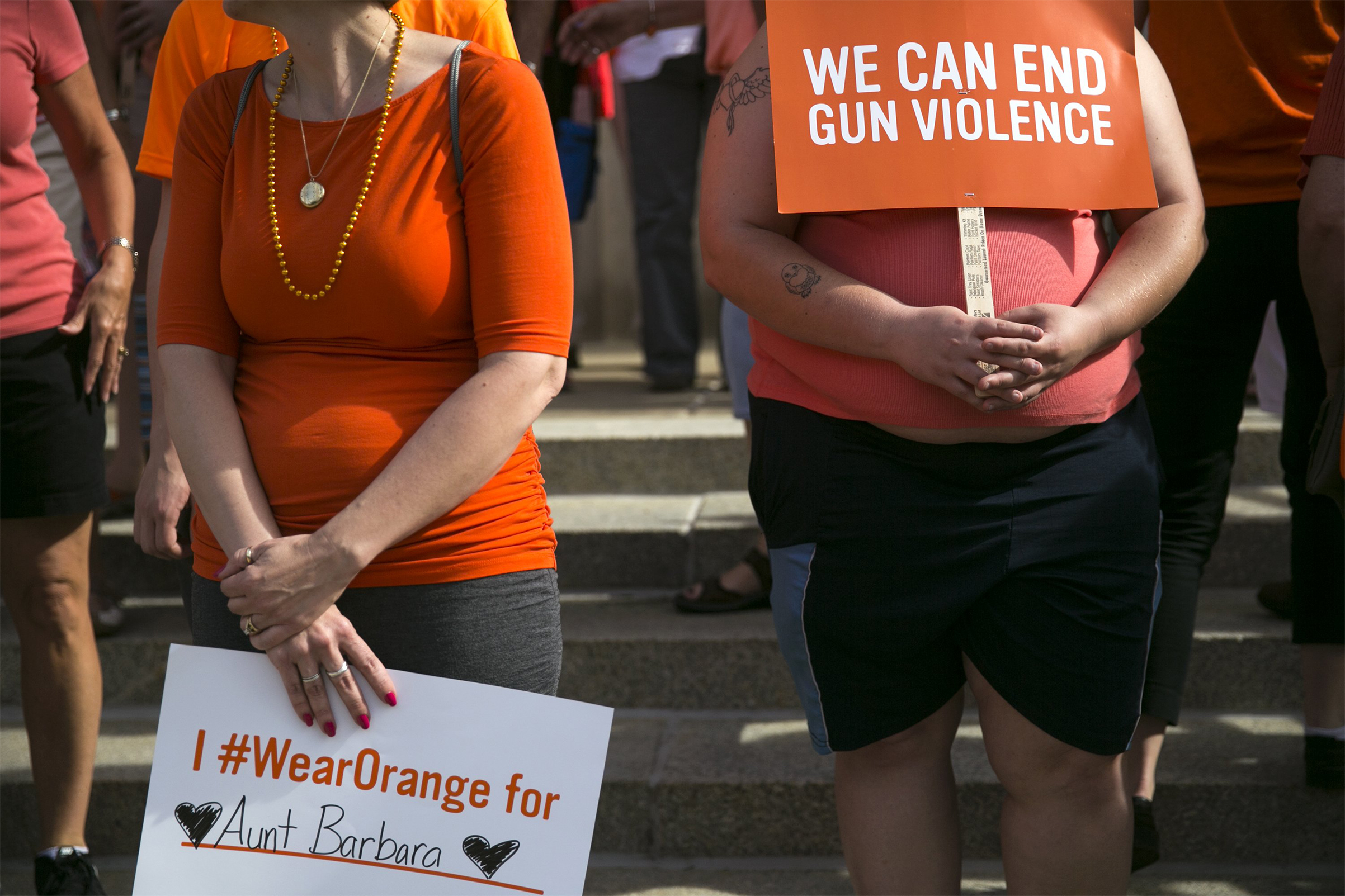 Signs during an event for National Gun Violence Awareness Day in Kalamazoo, Mich. on Thursday, June 2, 2016.