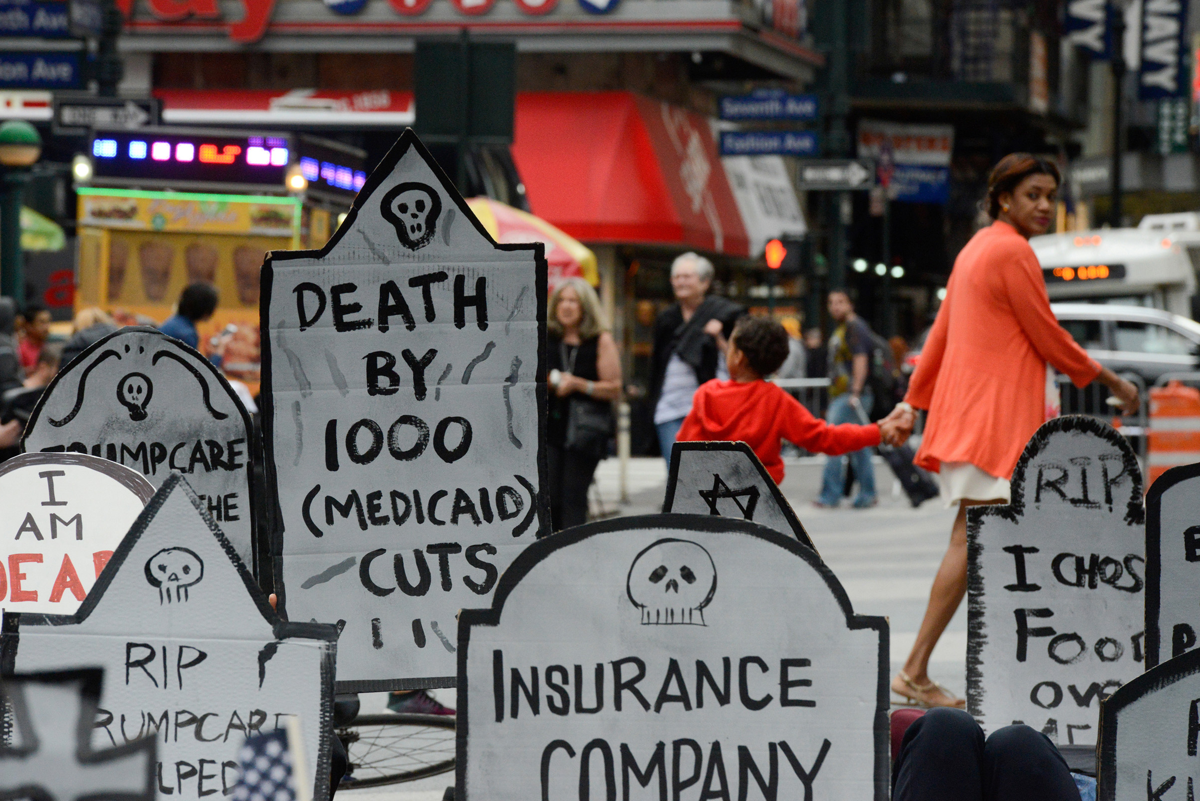 A protest of the Republican health care effort on June 4 in New York City.