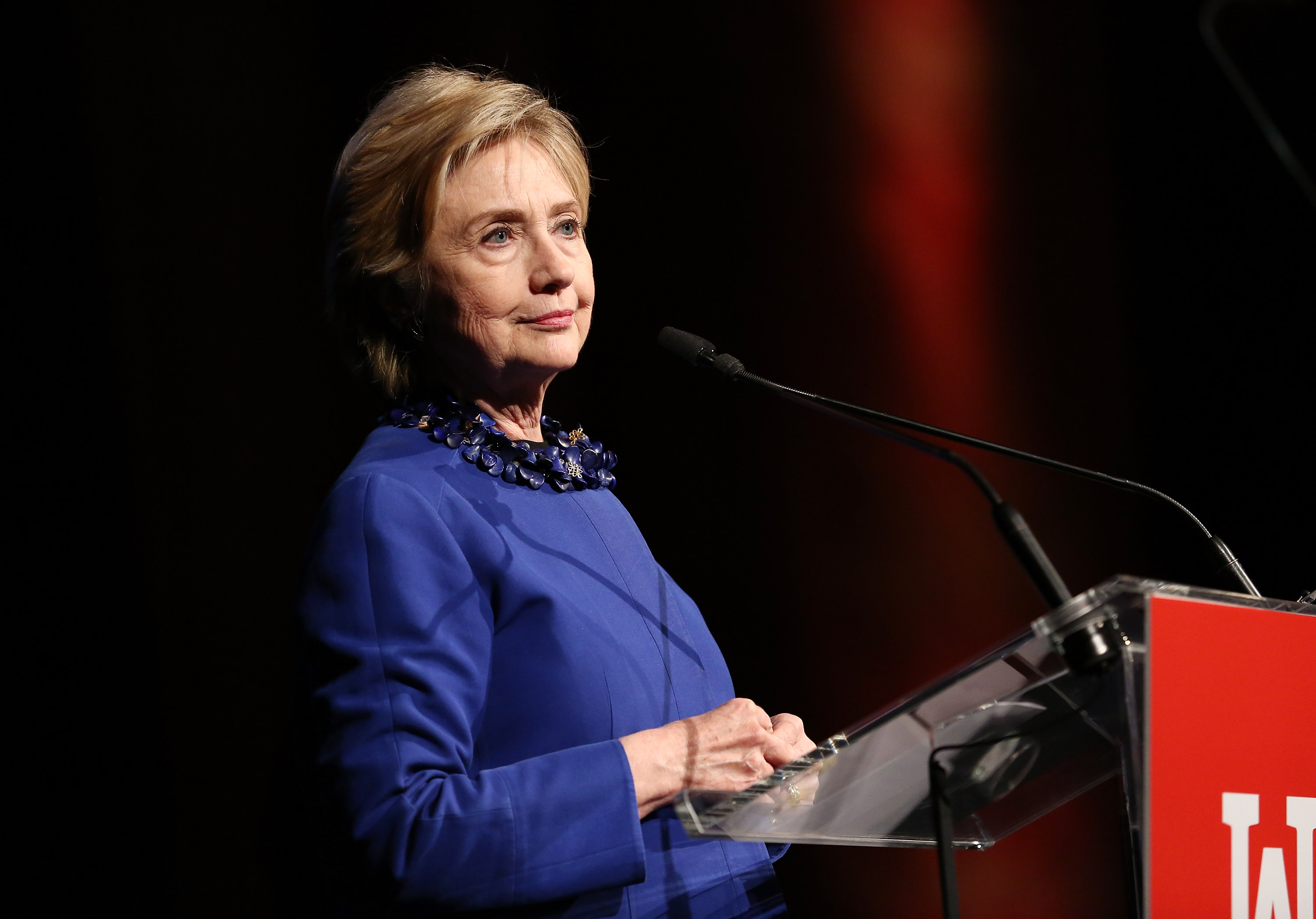 NEW YORK, NY - MAY 03:  Former US Secretary of State and WOV Honoree Hillary Clinton speaks onstage at the Ms. Foundation for Women 2017 Gloria Awards Gala & After Party at Capitale on May 3, 2017 in New York City.  (Photo by Monica Schipper/Getty Images for The Foundation for Women)