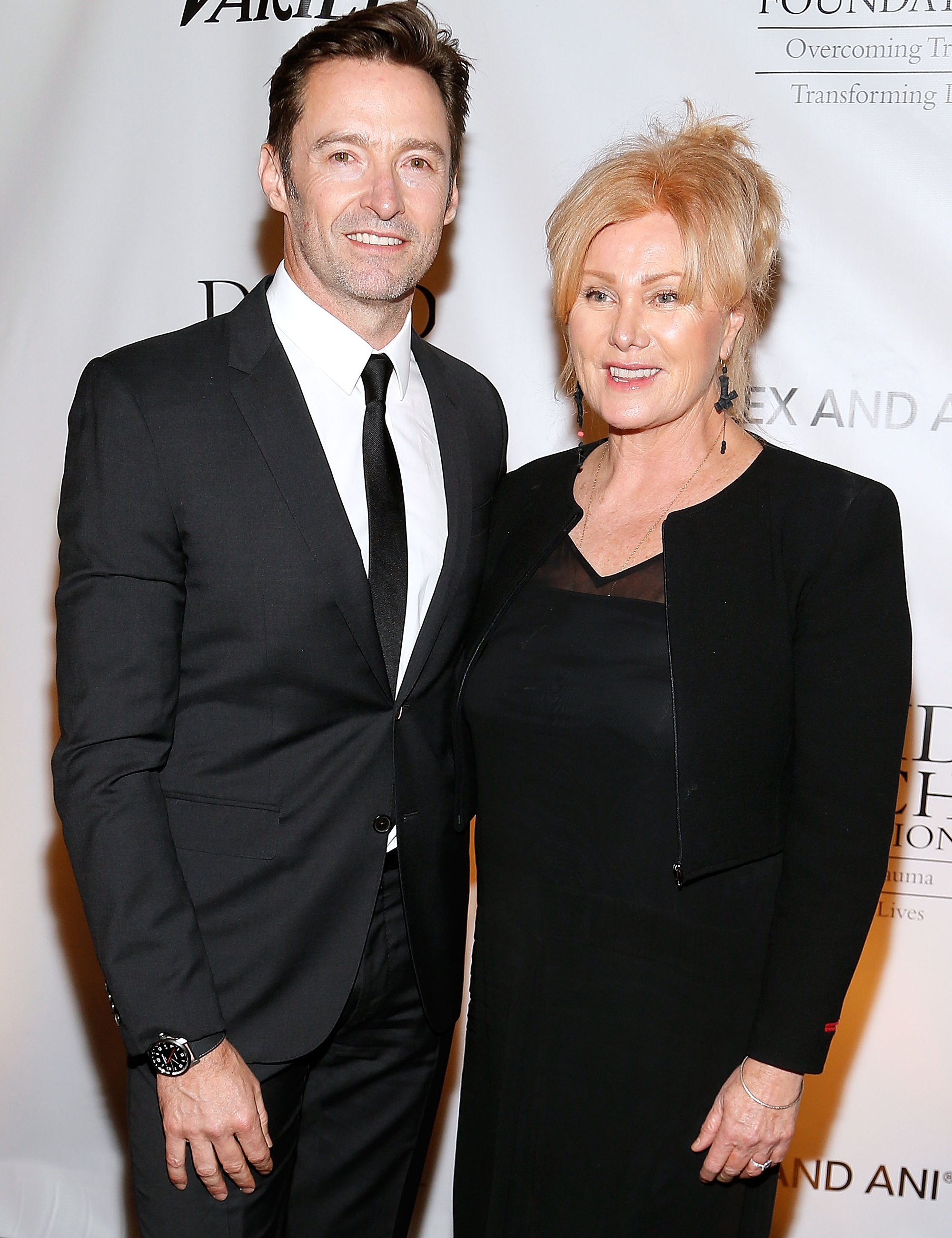 WASHINGTON, DC - JUNE 05:  Hugh Jackman (L) and Deborra-Lee Furness attend the National Night of Laughter and Song event hosted by David Lynch Foundation at the John F. Kennedy Center for the Performing Arts on June 5, 2017 in Washington, DC.  (Photo by Paul Morigi/WireImage)