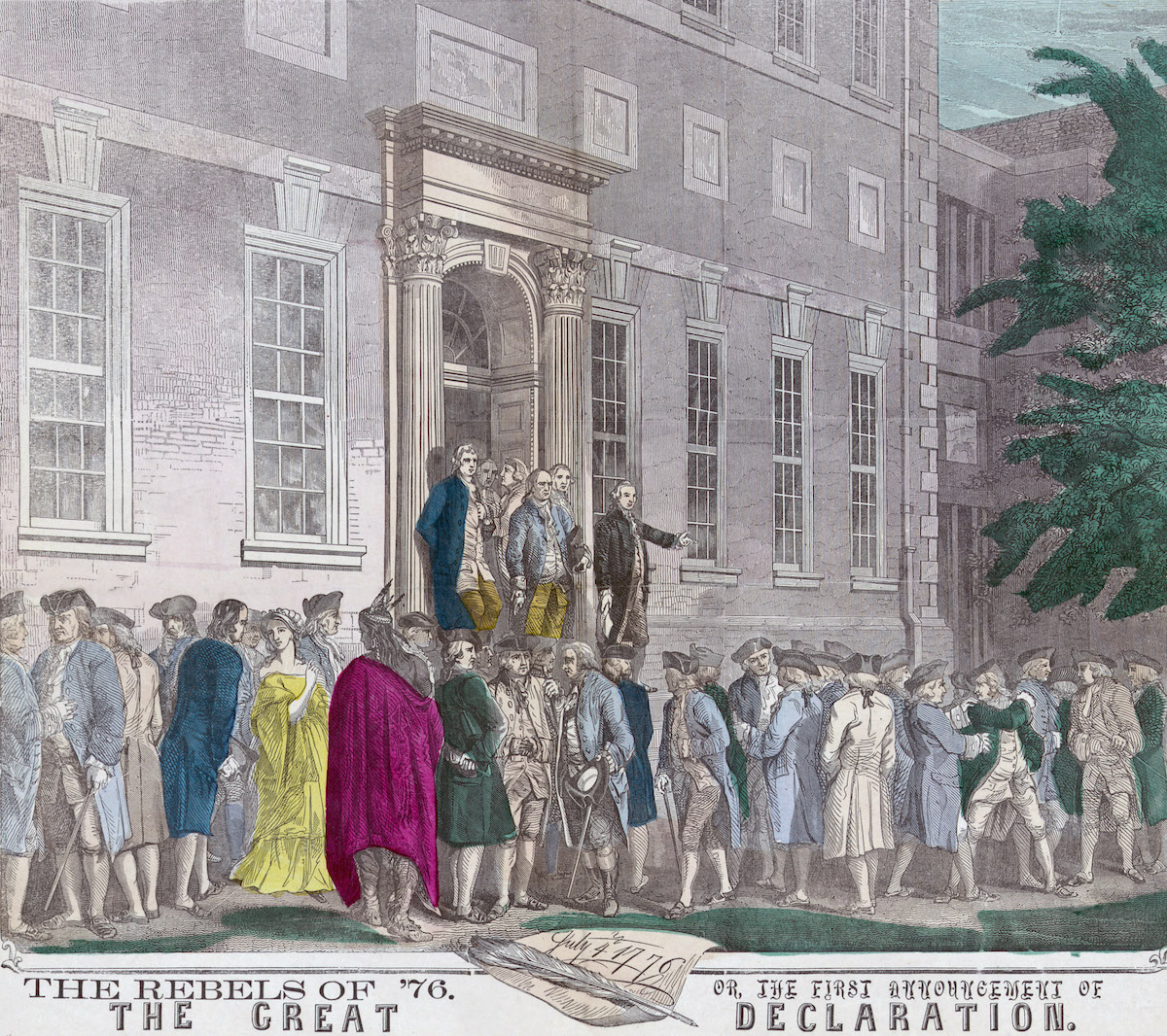 A 19th-century print shows members of the Second Continental Congress leaving Philadelphia's Independence Hall after adopting the Declaration of Independence from Great Britain.