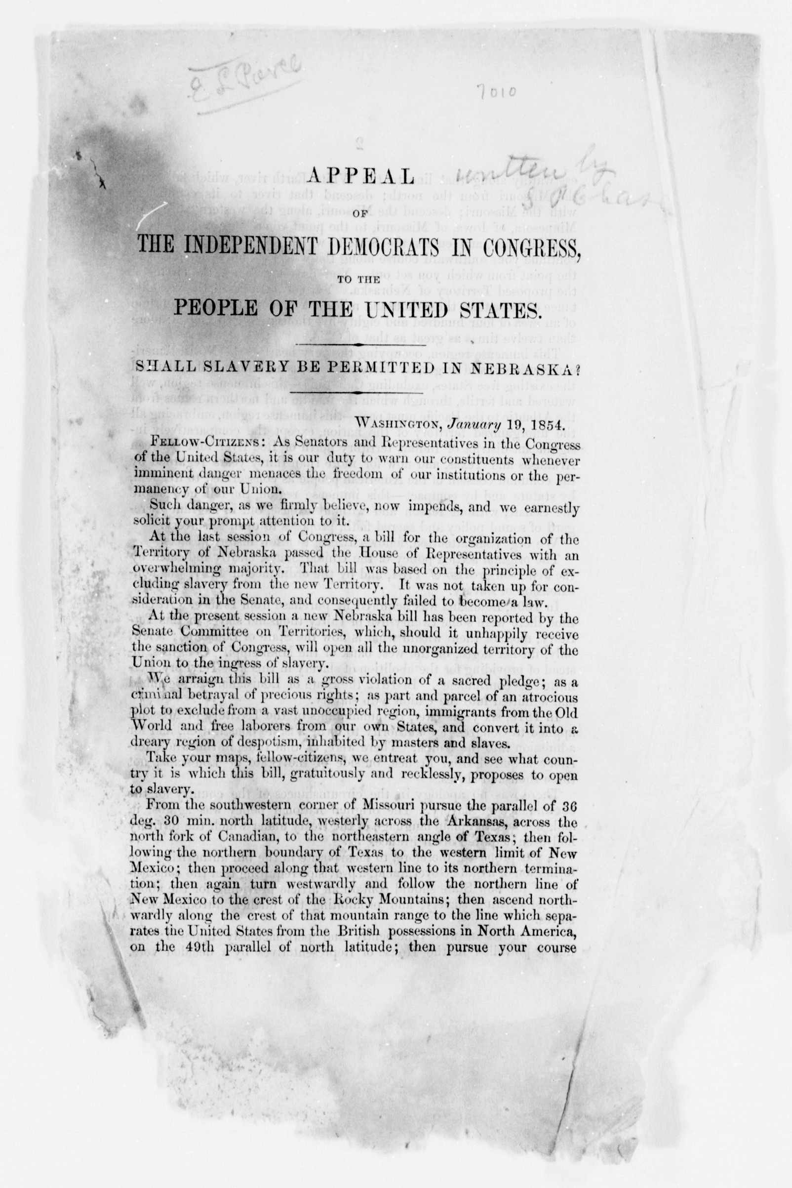 Appeal of the Independent Democrats in Congress to the People of the United States, 1854.