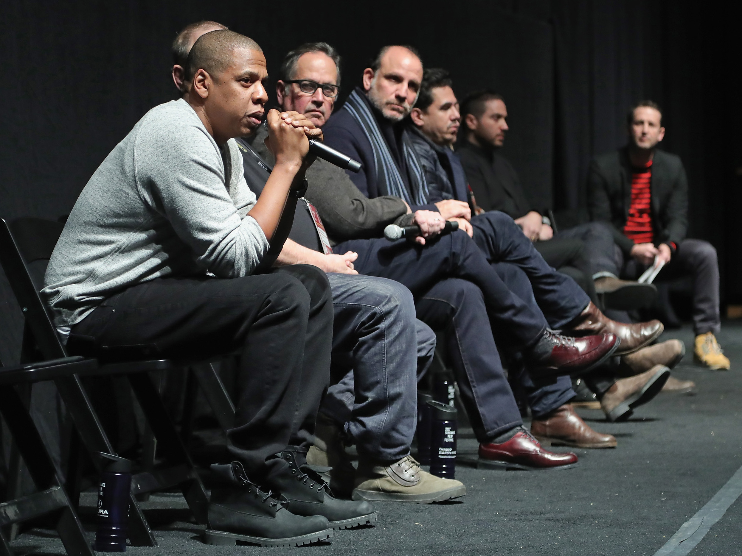 Jay Z speaks during a Q&A following the TIME: The Kalief Browder Story Sundance World Premiere, on Jan. 25, 2017 in Park City, Utah.