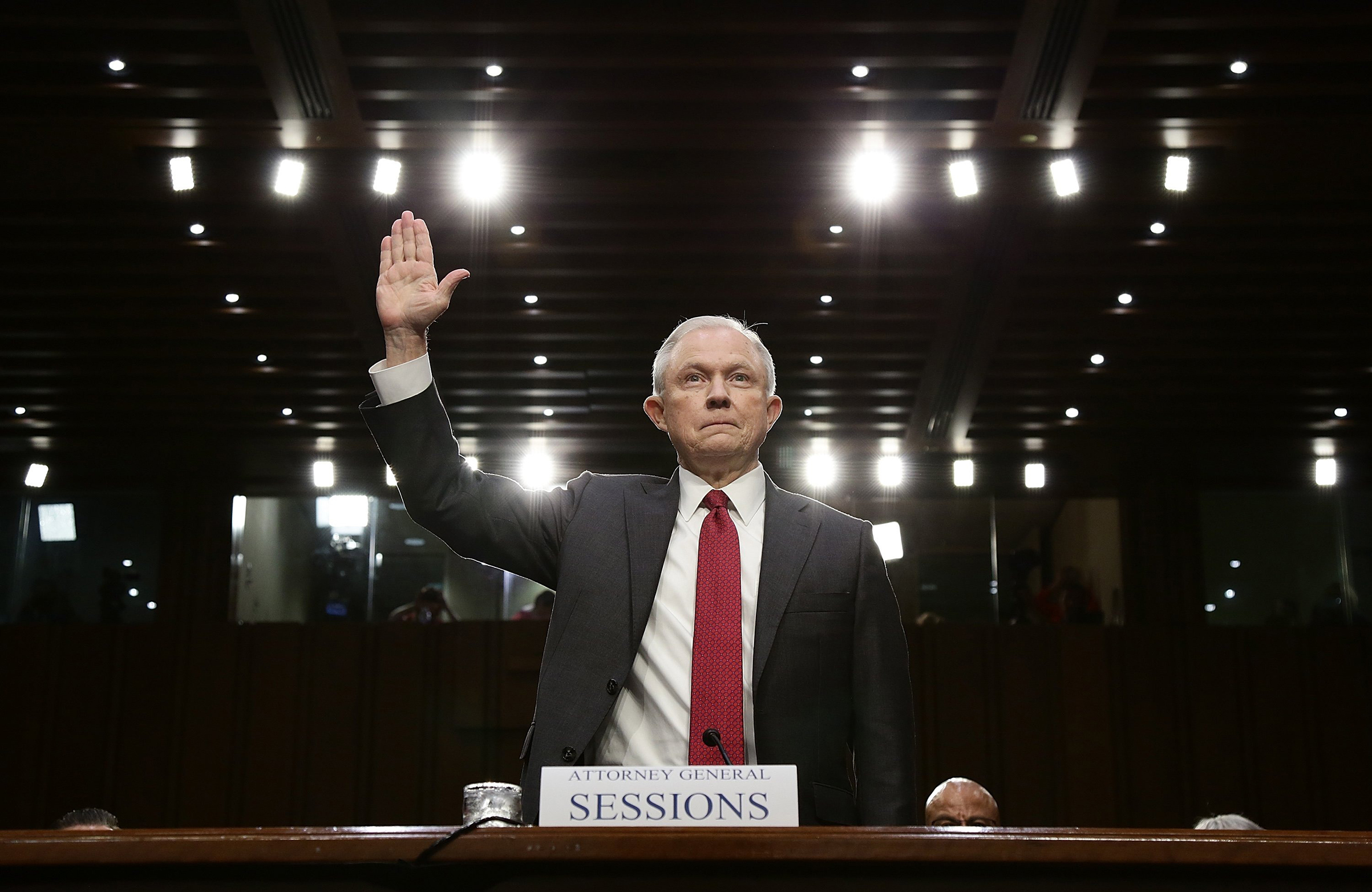 Attorney General Jeff Sessions is sworn in before the Senate Intelligence Committee on June 13, 2017.