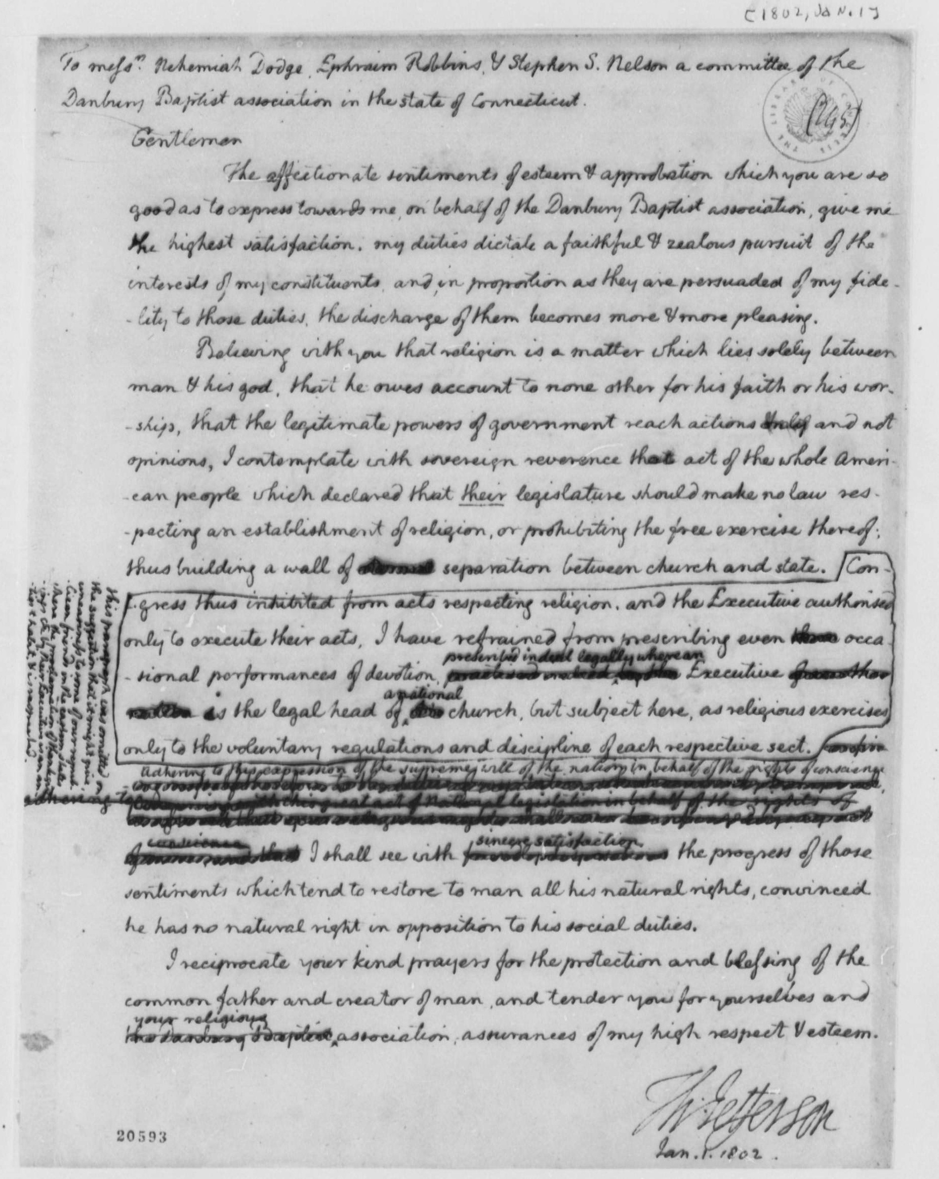 Jefferson's letter to the baptists, 1801.